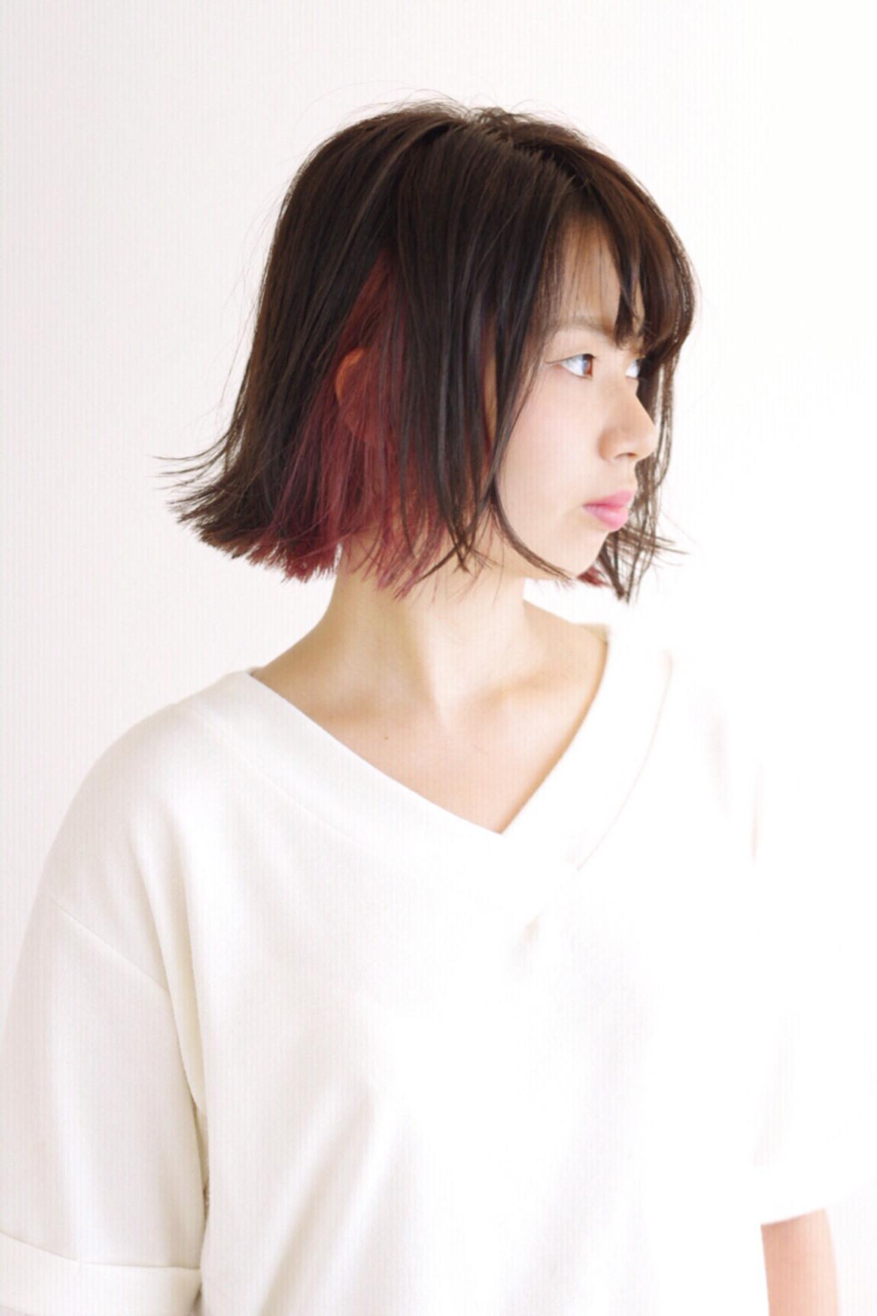 インナーカラー モード ボブ イルミナカラー ヘアスタイルや髪型の写真・画像 | 松田 光雄 / BLOCK