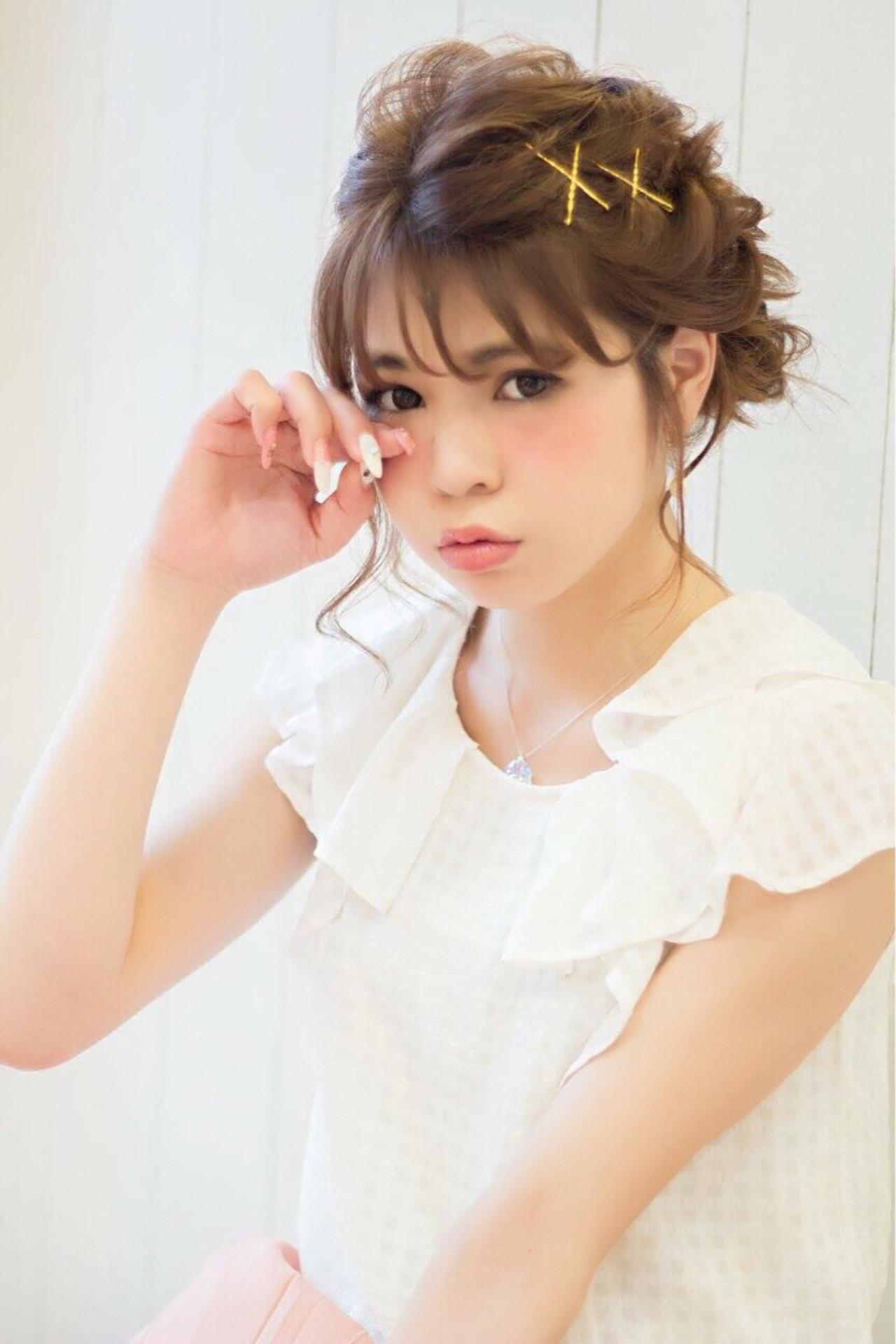 お団子 ミディアム アップスタイル モテ髪 ヘアスタイルや髪型の写真・画像