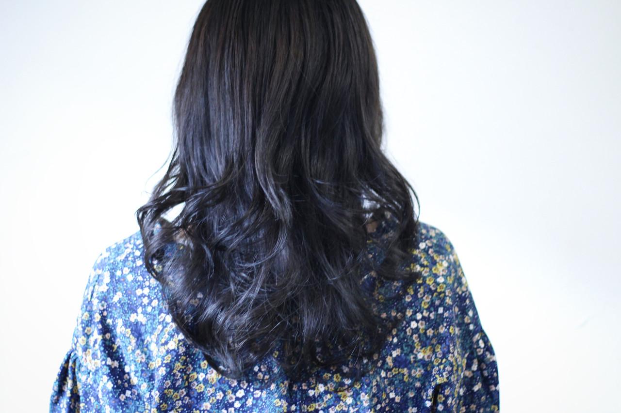 ネイビーアッシュ ネイビーカラー セミロング ネイビーブルー ヘアスタイルや髪型の写真・画像 | creap / creap