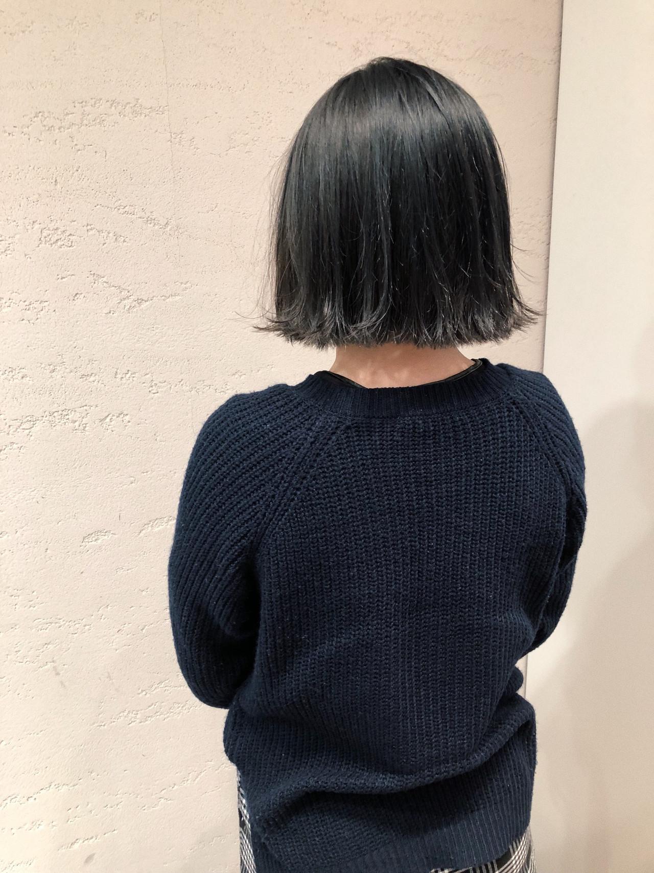 ブルーアッシュ ブルージュ ボブ グレーアッシュ ヘアスタイルや髪型の写真・画像