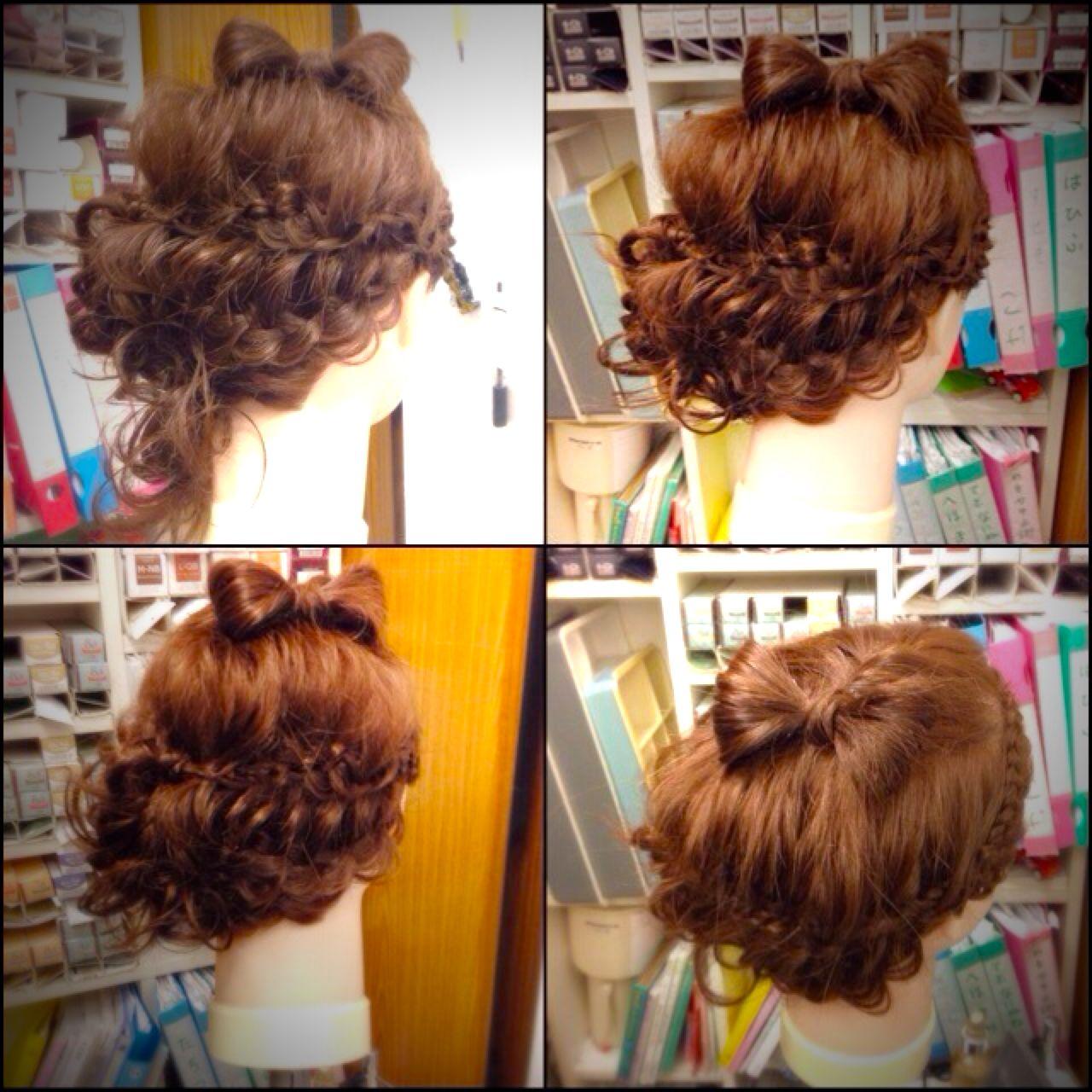 フィッシュボーン 四つ編み ガーリー 編み込み ヘアスタイルや髪型の写真・画像