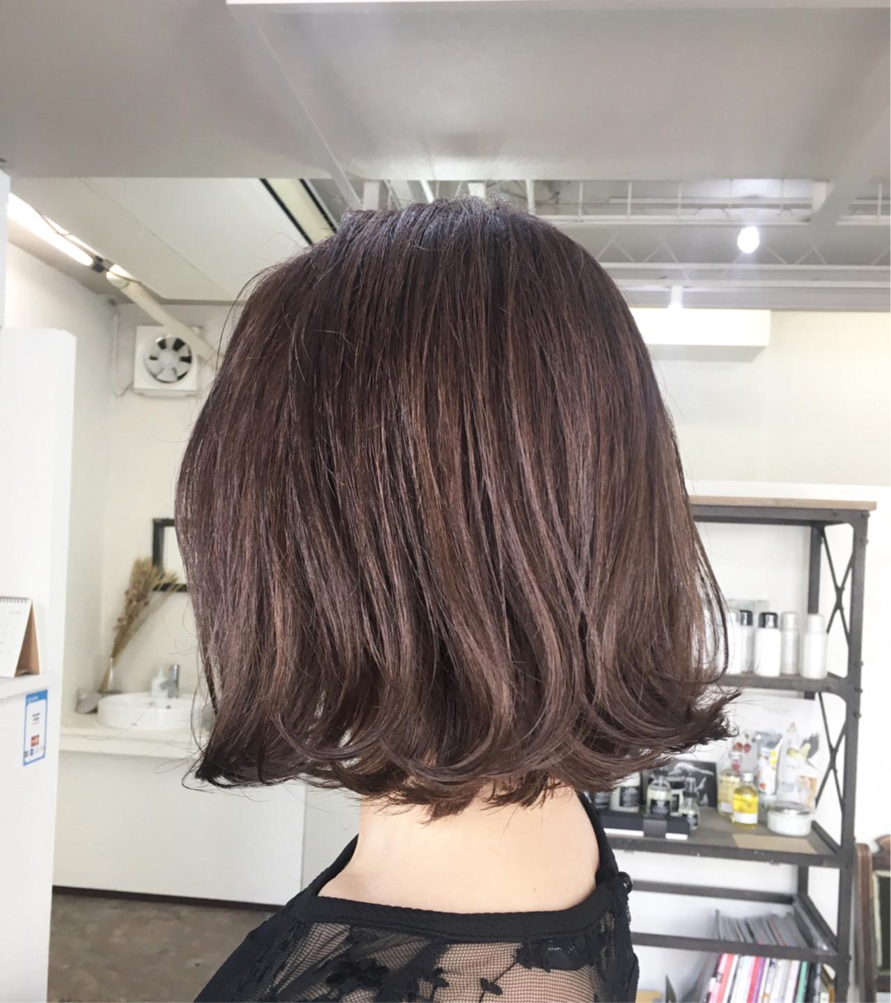ガーリー ハイライト ボブ ピンク ヘアスタイルや髪型の写真・画像