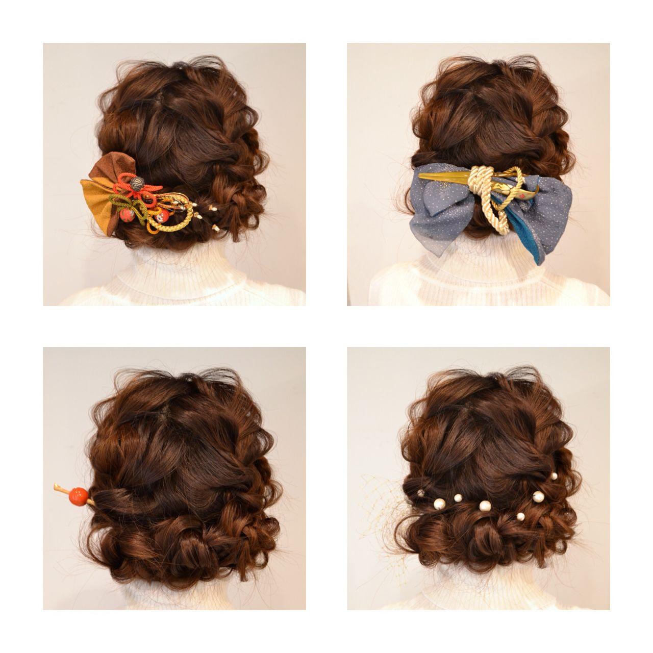 成人式 着物 謝恩会 コンサバ ヘアスタイルや髪型の写真・画像