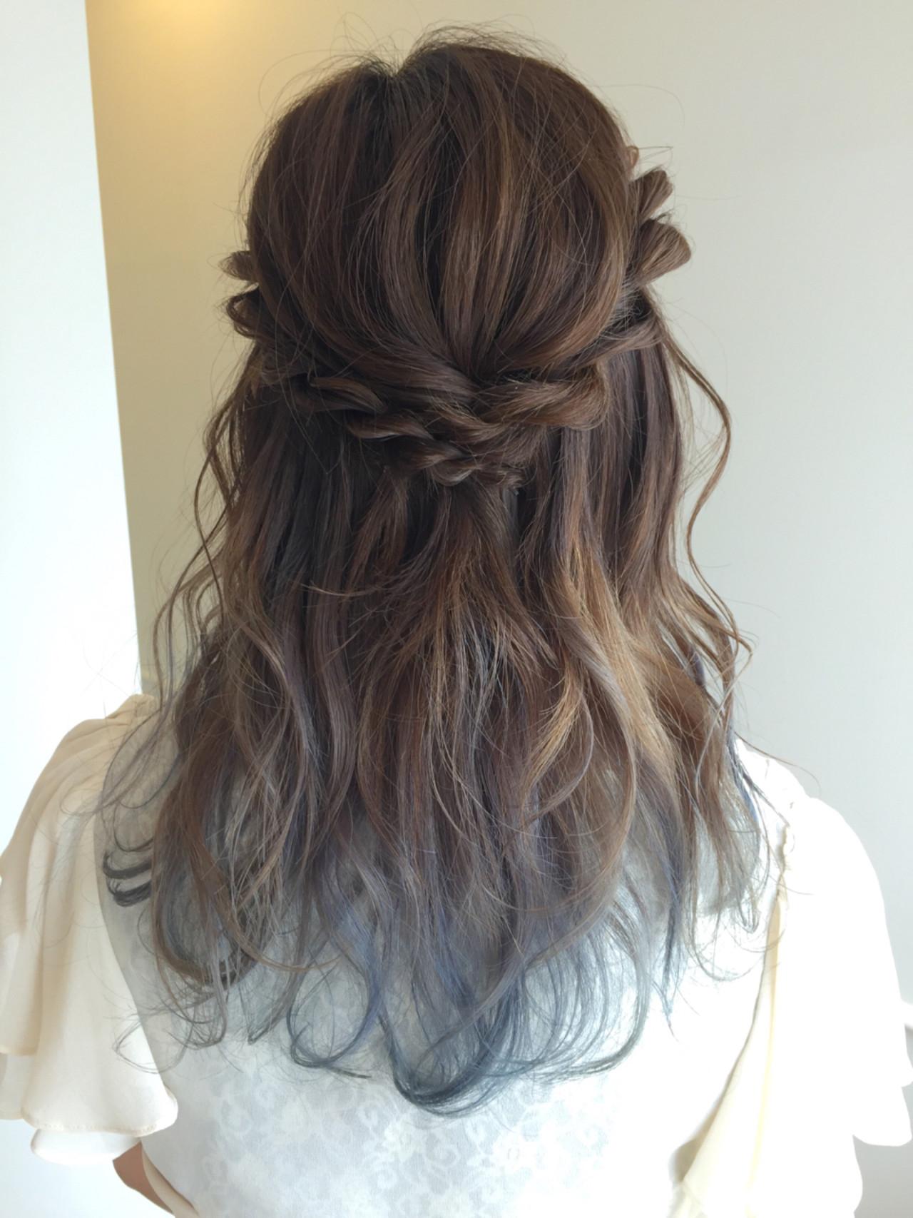 ヘアアレンジ くるりんぱ ハーフアップ ロープ編み ヘアスタイルや髪型の写真・画像