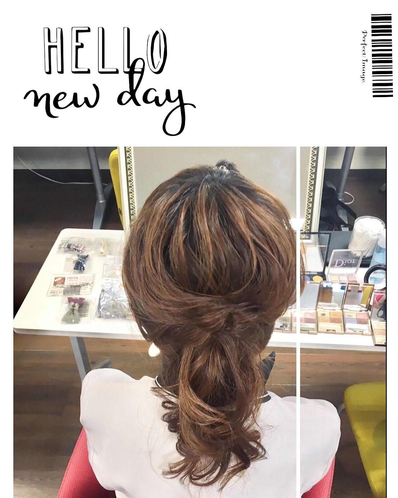 編み込み デート ミディアム フェミニン ヘアスタイルや髪型の写真・画像 | NON EDGE-苫小牧美容室&ショップ / NON EDGE hair&shop