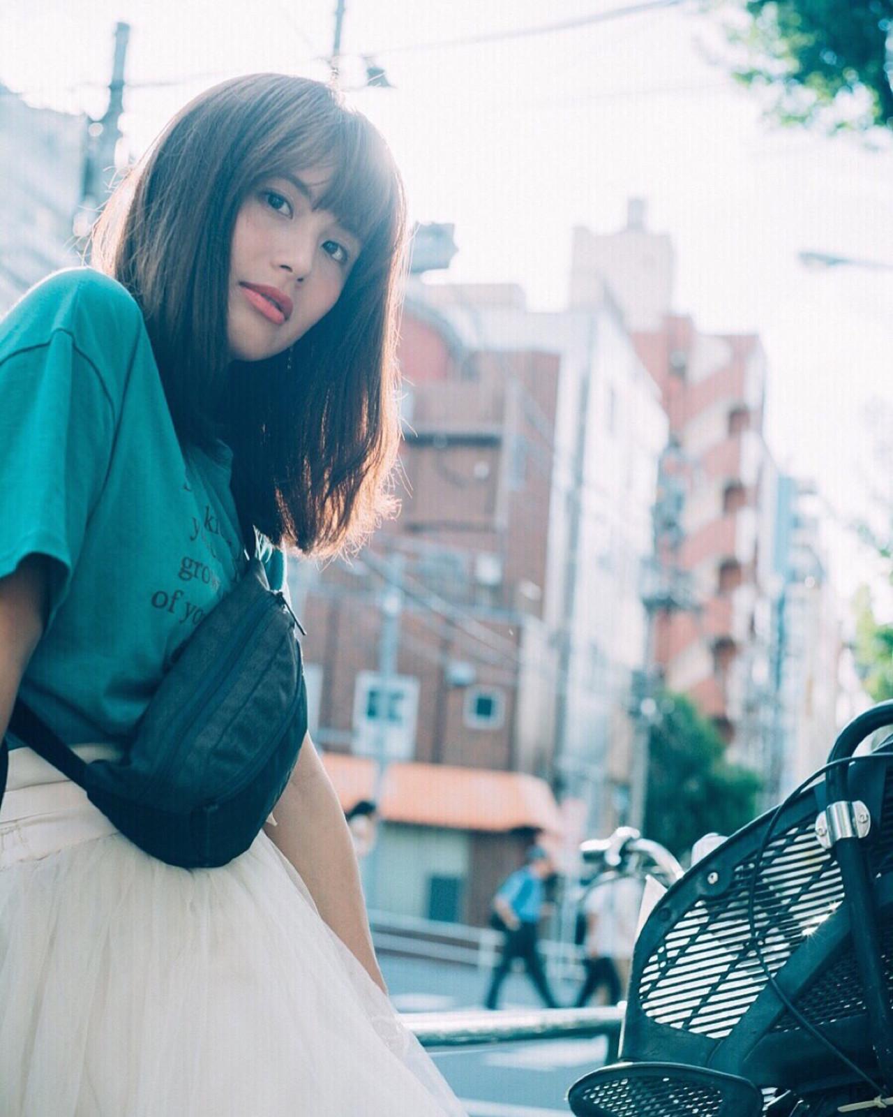 外国人風カラー ナチュラル 大人かわいい セミロング ヘアスタイルや髪型の写真・画像