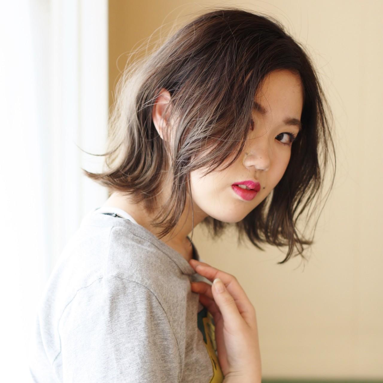 外ハネボブ グラデーションカラー ボブ 切りっぱなしボブ ヘアスタイルや髪型の写真・画像 | 北村 雄吾 / piece