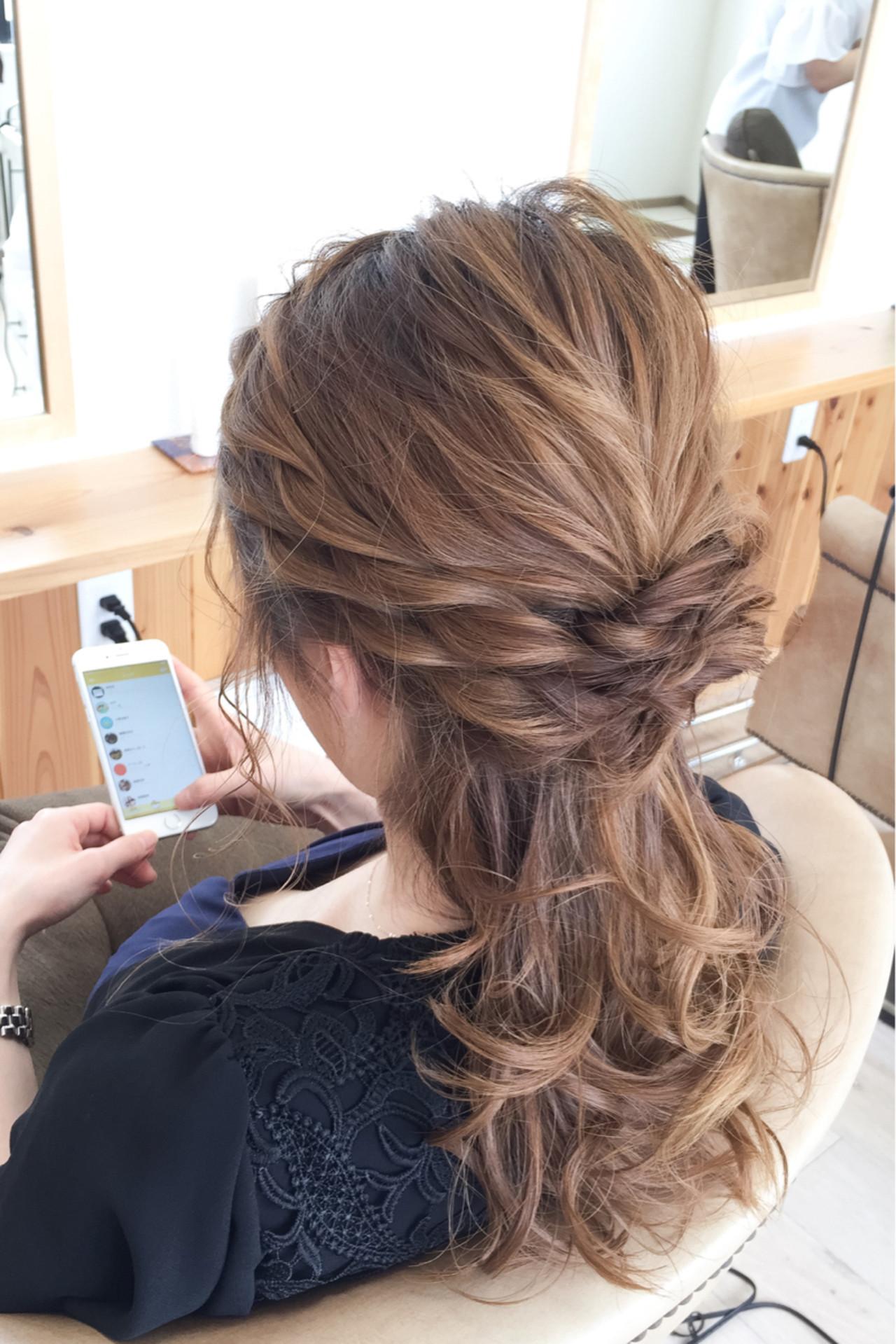 外国人風 セミロング 夏 ハーフアップ ヘアスタイルや髪型の写真・画像 | 宇渡 裕一 / Lillie hair&spa