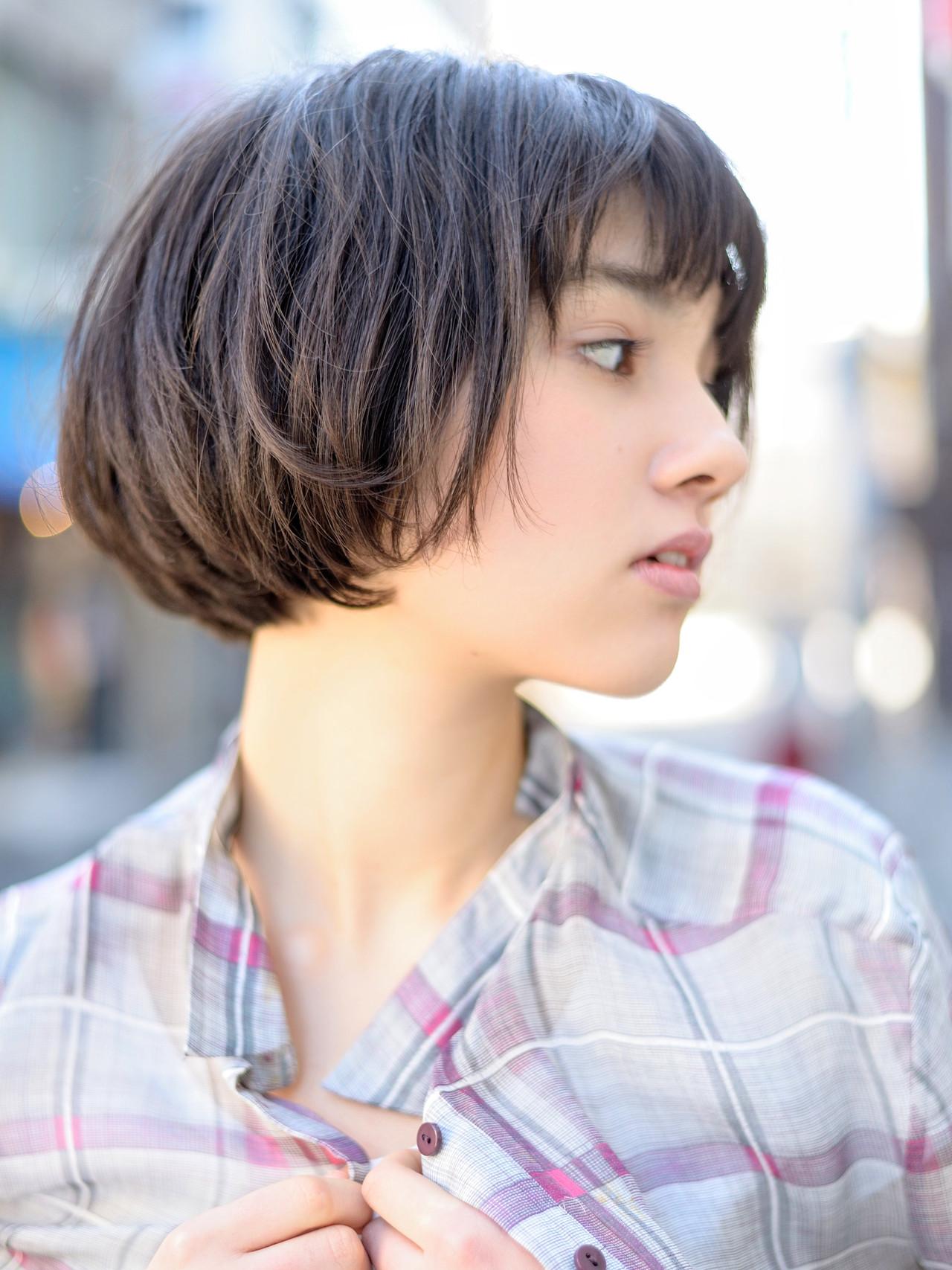 ミニボブ ナチュラル ショートボブ ショート ヘアスタイルや髪型の写真・画像   郡司 泰之 / ROJITHA 原宿 / ROJITHA