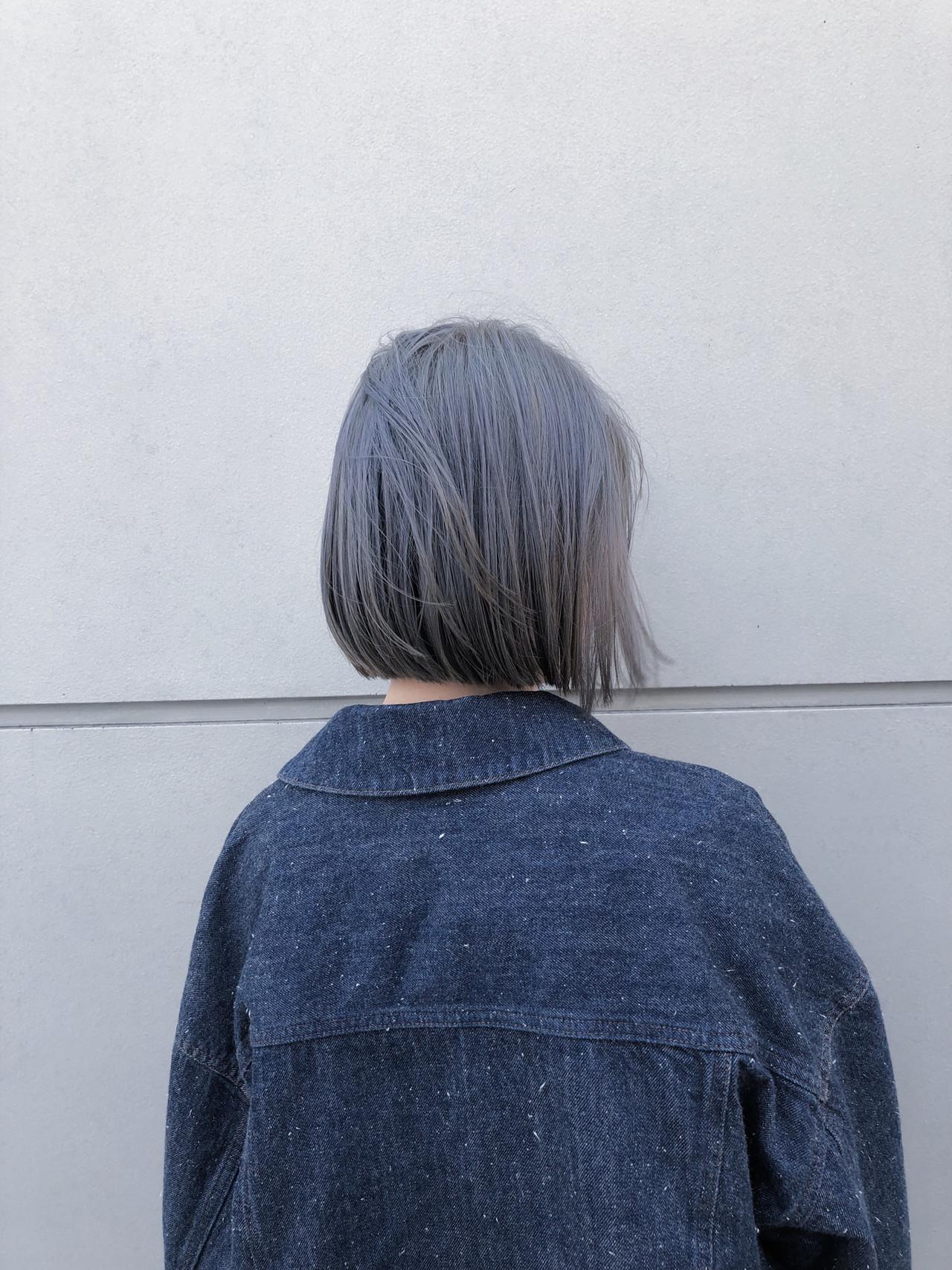 ハイトーン ミニボブ ショートボブ ストリート ヘアスタイルや髪型の写真・画像