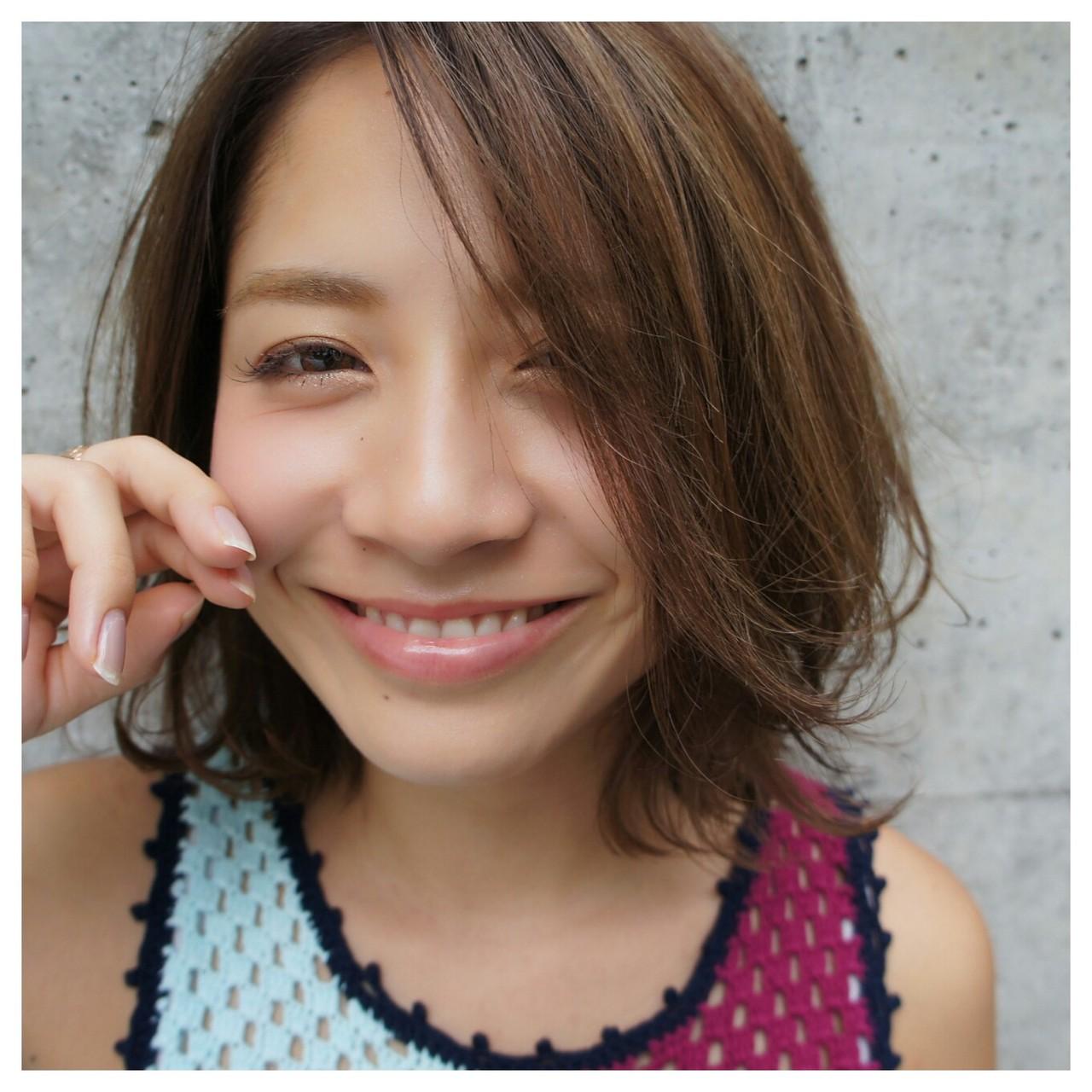 ボブ ハイライト ミディアム 外国人風 ヘアスタイルや髪型の写真・画像 | WASHIZU@washi_hair / eyes