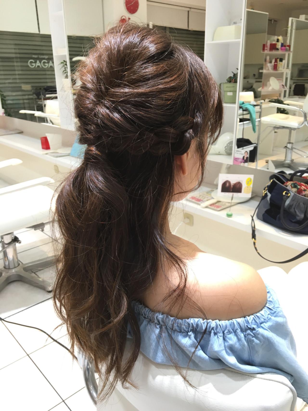 ハーフアップ くるりんぱ 簡単ヘアアレンジ セミロング ヘアスタイルや髪型の写真・画像 | 石田裕紀 / Baroque 立川 newtonグループ