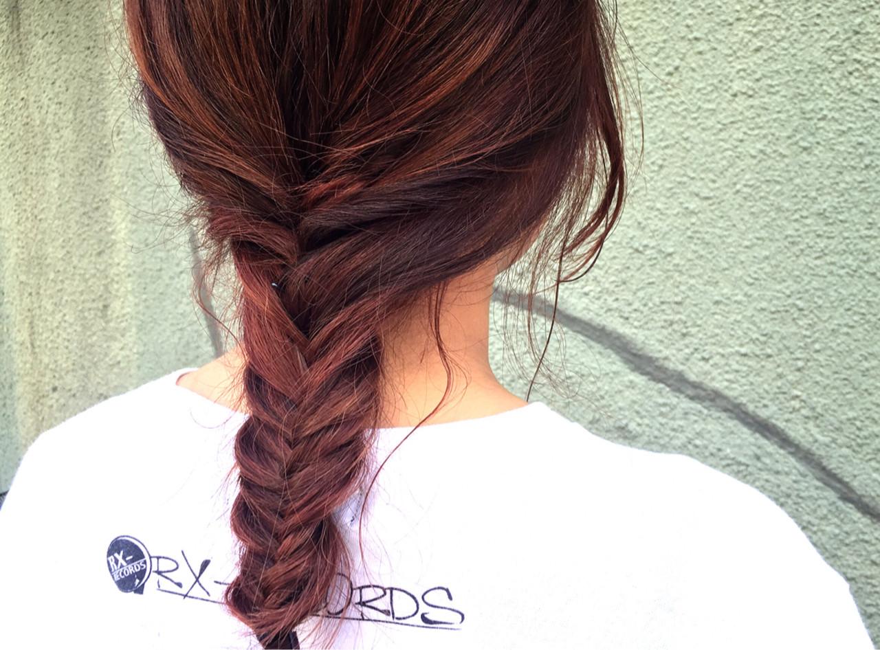 ヘアアレンジ ショート ピンク ストリート ヘアスタイルや髪型の写真・画像   漁野 陽介 / cache  nakazaki