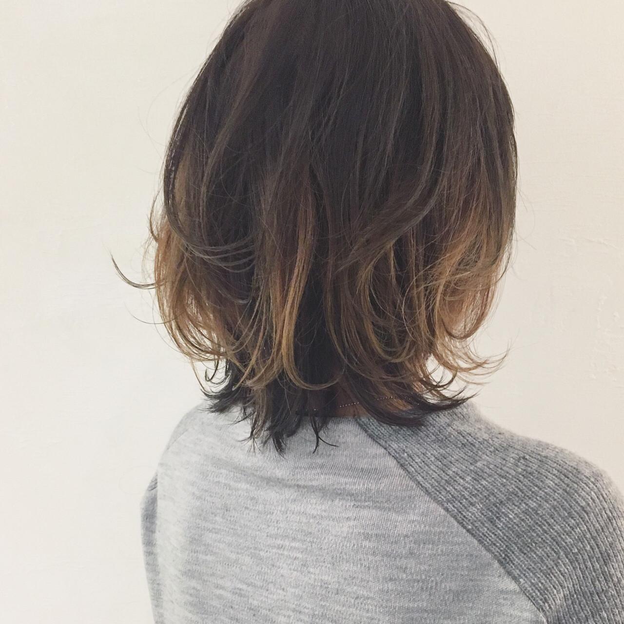 インナーカラー アッシュ パーマ ハイライト ヘアスタイルや髪型の写真・画像