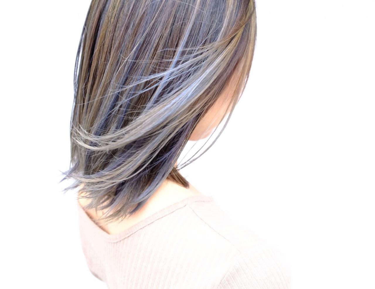 ブリーチオンカラー ブリーチカラー ハイライト バレイヤージュ ヘアスタイルや髪型の写真・画像