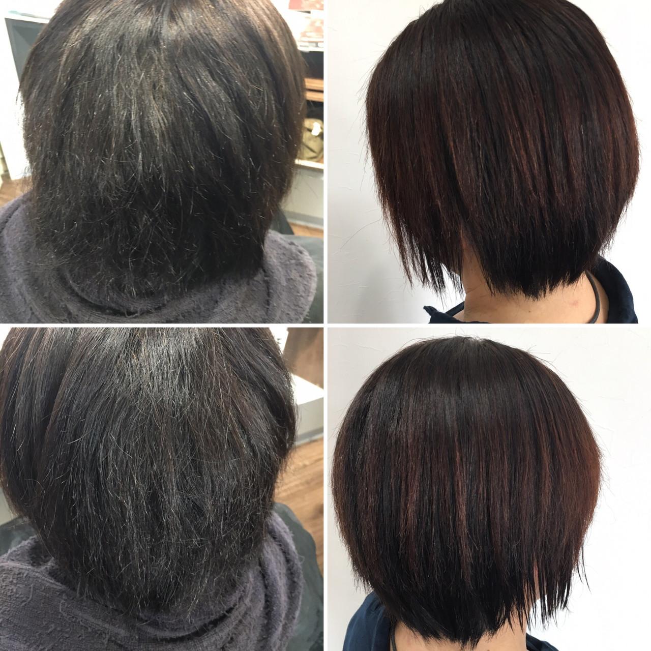 切りっぱなしボブ ミニボブ モード ベリーショート ヘアスタイルや髪型の写真・画像
