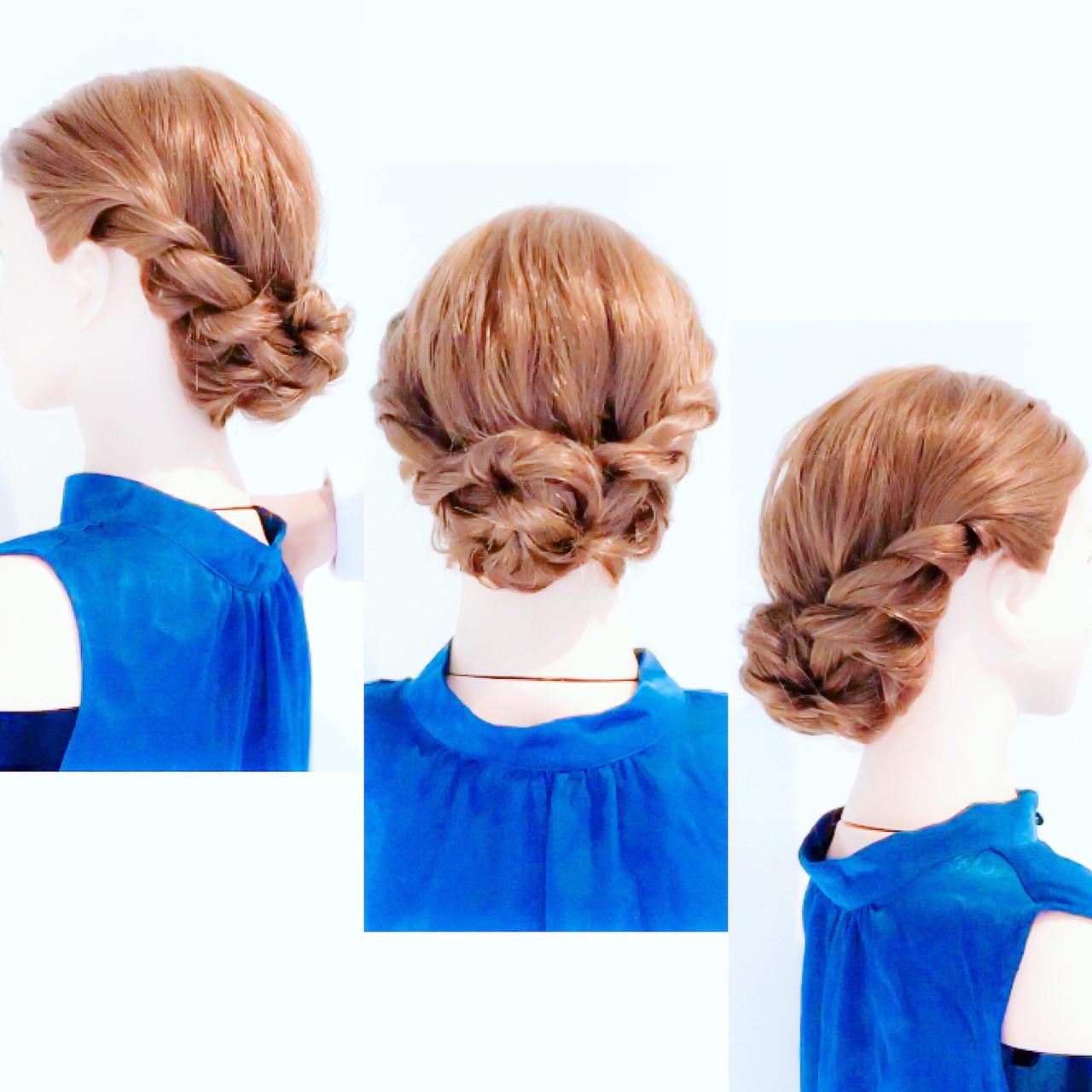 アップスタイル フェミニン ロング セルフアレンジ ヘアスタイルや髪型の写真・画像