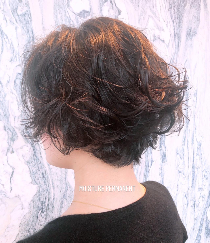 ゆるふわパーマ ショート ナチュラル ショートボブ ヘアスタイルや髪型の写真・画像 | 西山 洸平 / broocH