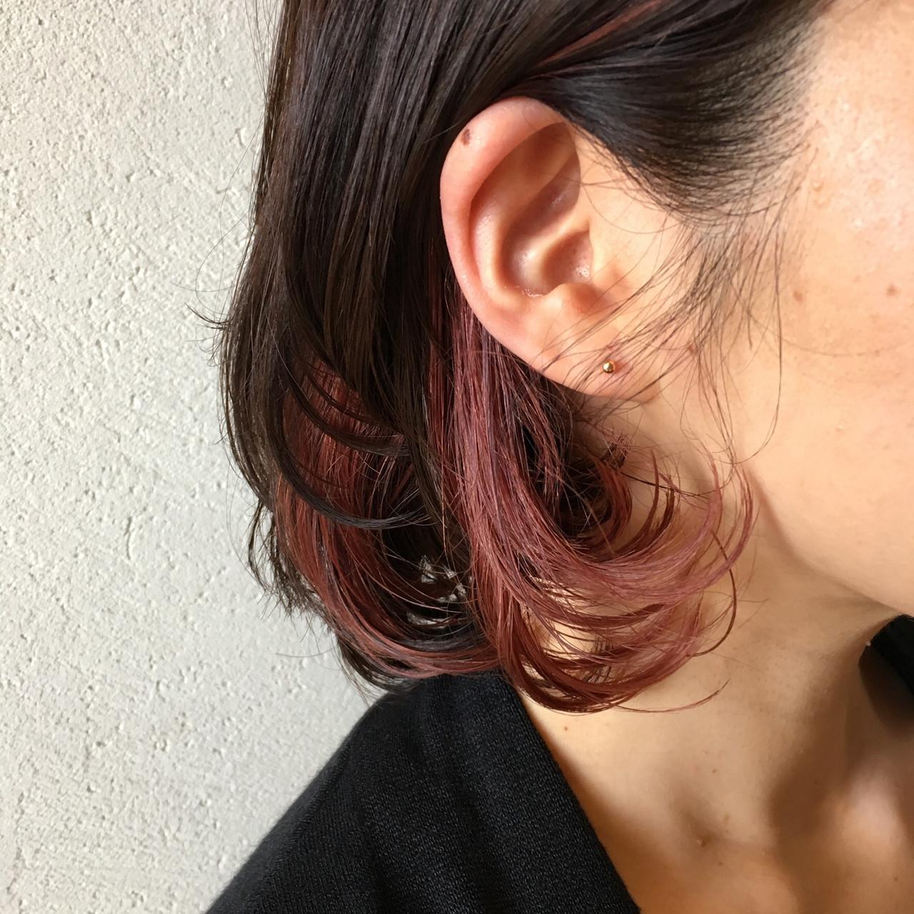 フェミニン ピンクラベンダー ボブ ラベンダーピンク ヘアスタイルや髪型の写真・画像