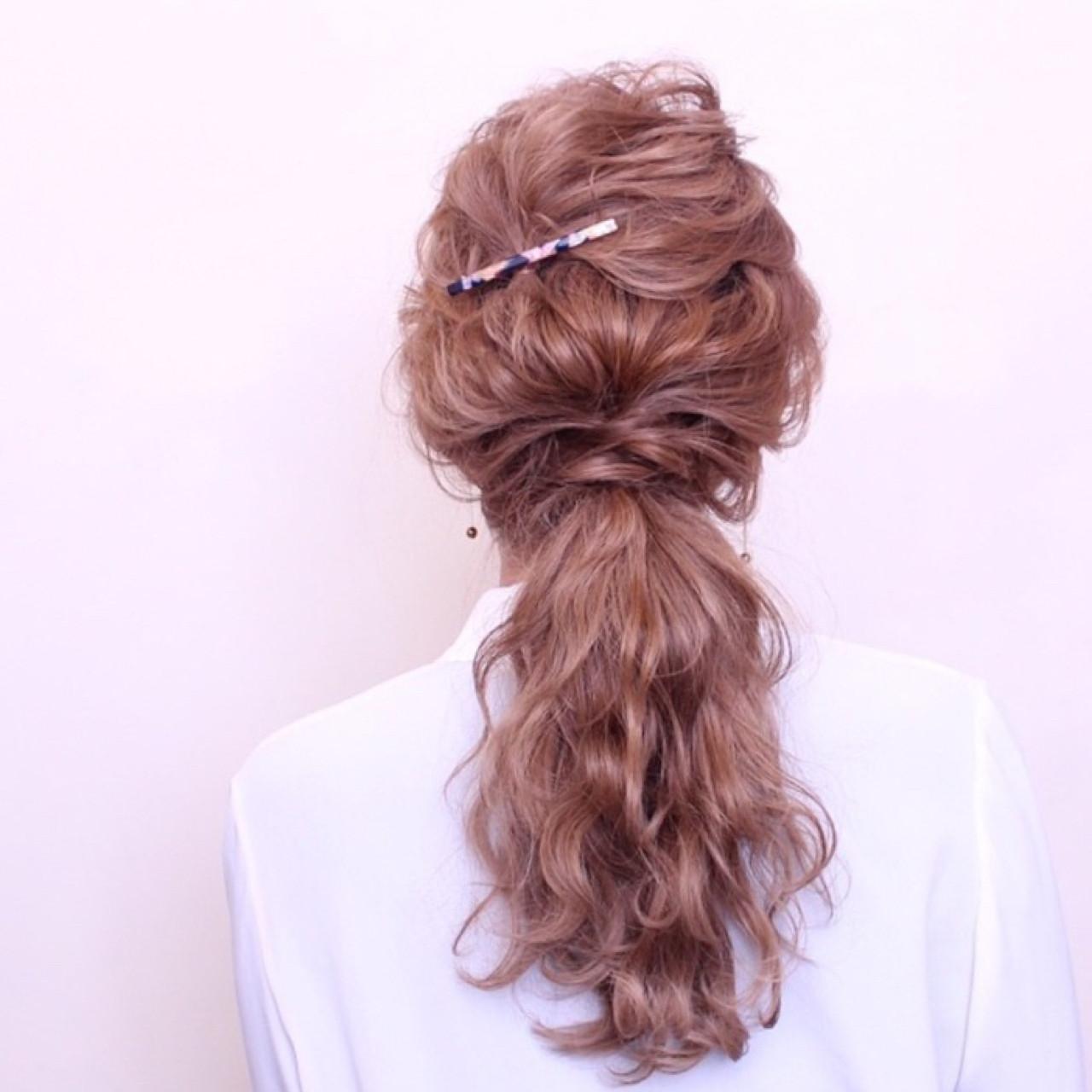 ロング ショート ナチュラル 簡単ヘアアレンジ ヘアスタイルや髪型の写真・画像