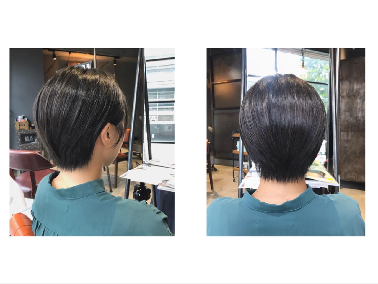 ハンサムショート ショートバング ショートヘア ナチュラル ヘアスタイルや髪型の写真・画像 | Nakaji. / ensue