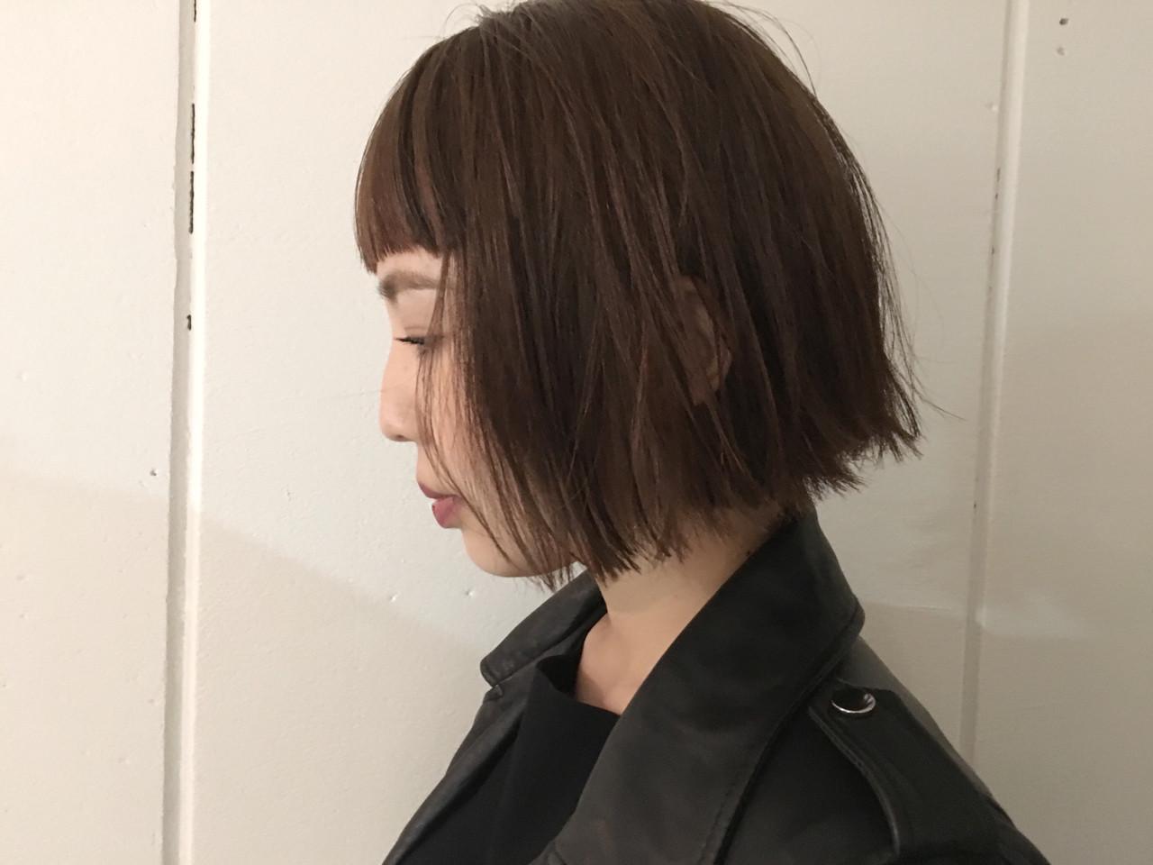 モード ボブ 切りっぱなし アッシュ ヘアスタイルや髪型の写真・画像