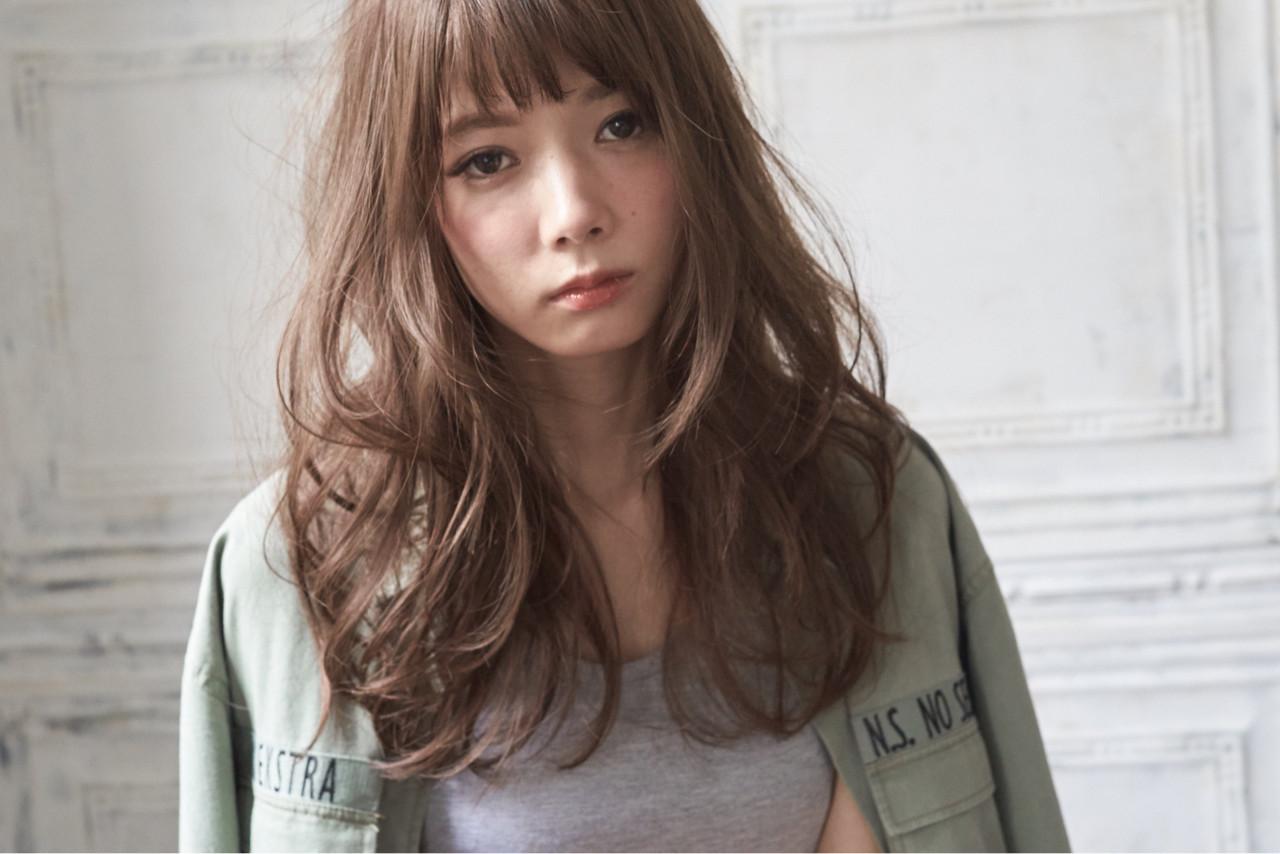 前髪あり ゆるふわ ロング パーマ ヘアスタイルや髪型の写真・画像