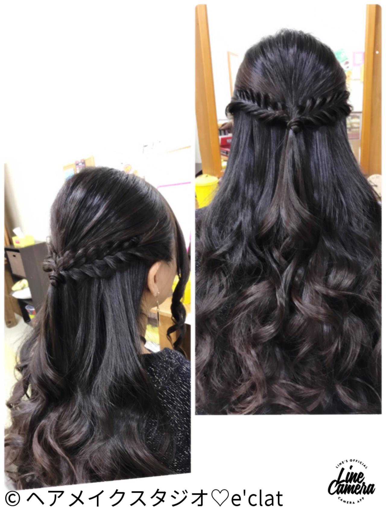 ハーフアップ 大人女子 ナチュラル 黒髪 ヘアスタイルや髪型の写真・画像   ヘアメイクスタジオ♡e'clat / ヘアメイクスタジオ♡e'clat