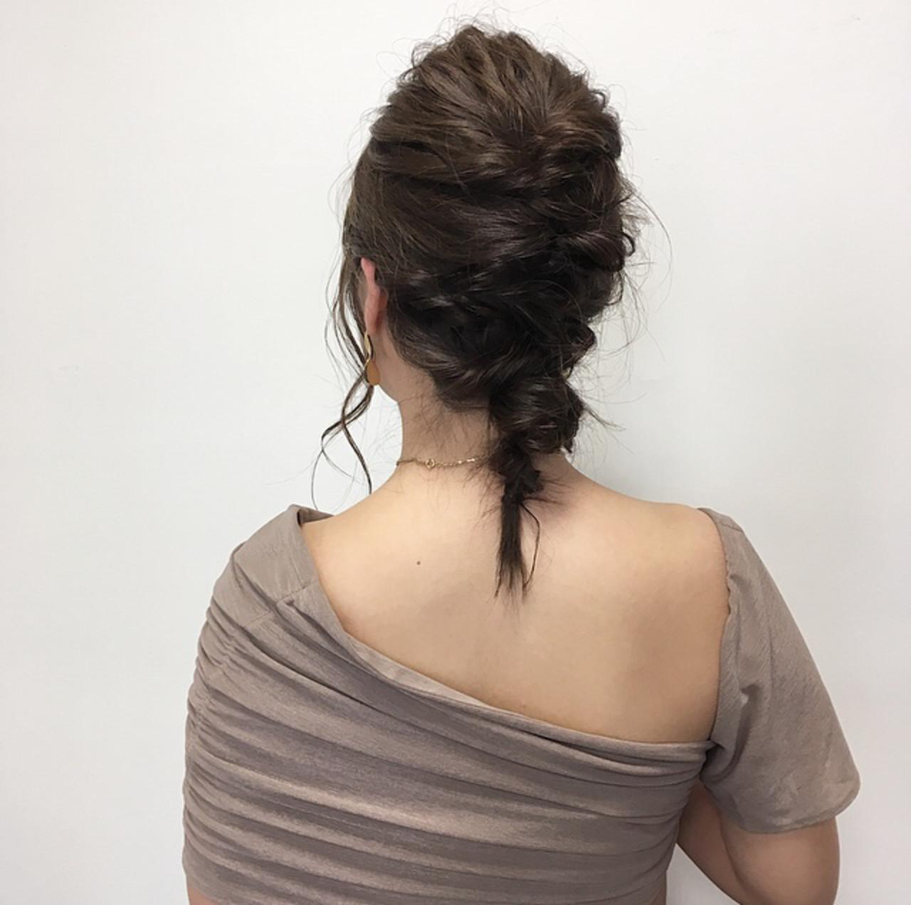 簡単ヘアアレンジ セミロング ヘアアレンジ ナチュラル ヘアスタイルや髪型の写真・画像