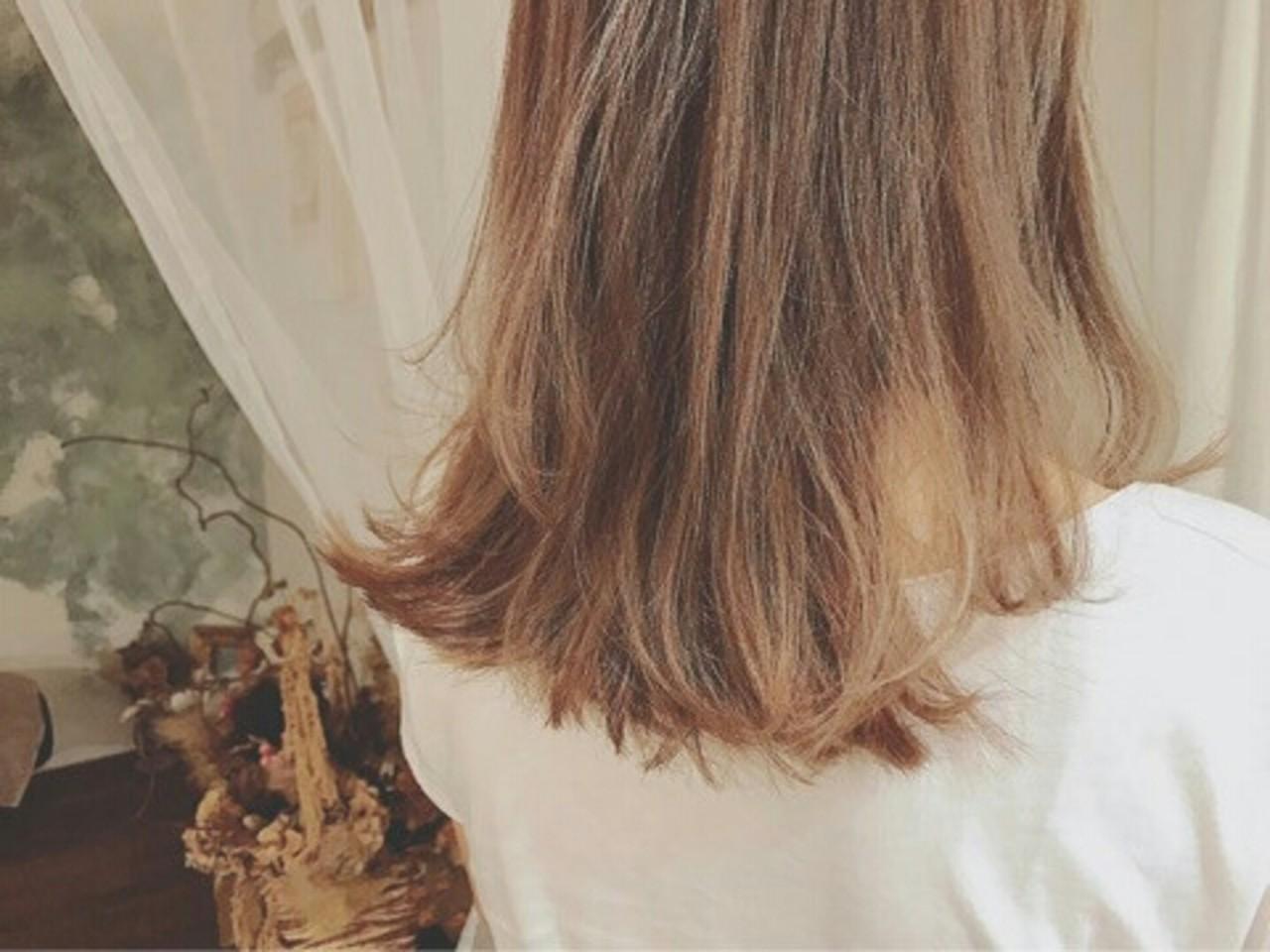モード 外国人風 グレージュ セミロング ヘアスタイルや髪型の写真・画像