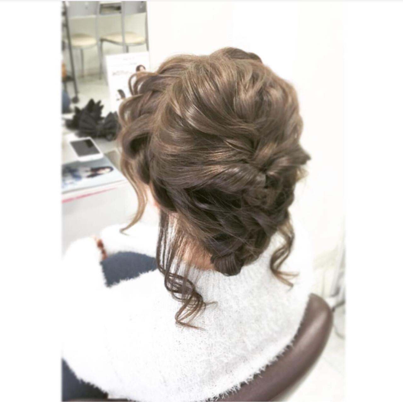 波ウェーブ ヘアアレンジ アッシュ セミロング ヘアスタイルや髪型の写真・画像