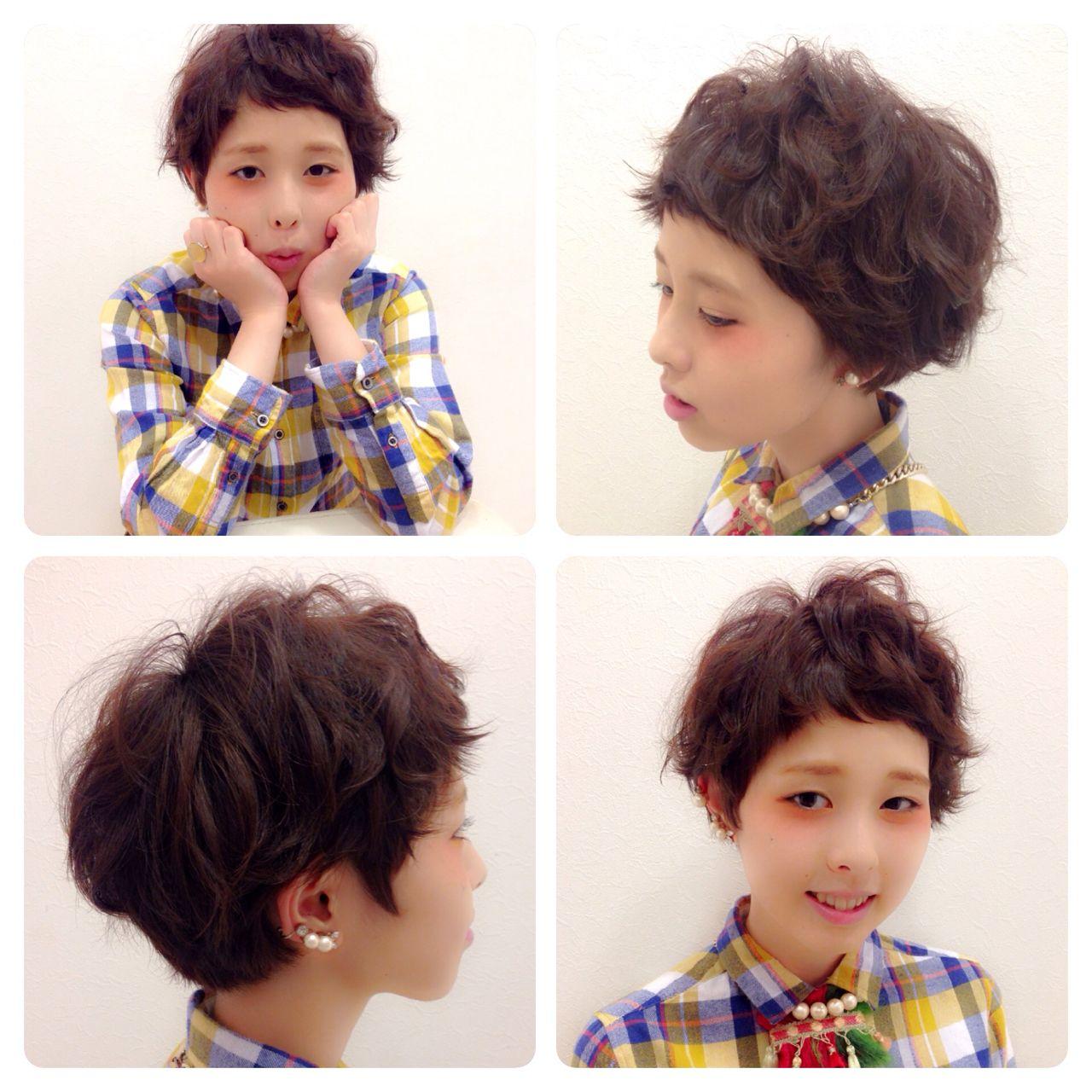 パーマ 冬 ショート ガーリー ヘアスタイルや髪型の写真・画像