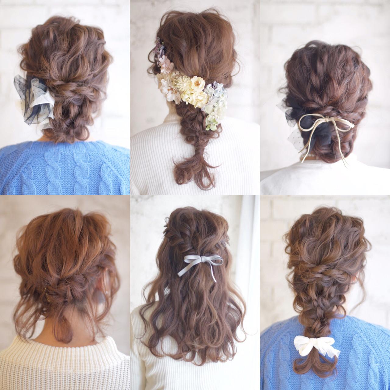 セミロング ヘアアレンジ 大人かわいい 結婚式 ヘアスタイルや髪型の写真・画像   谷本将太 nalu hair / nalu hair  (ナルーヘアー)
