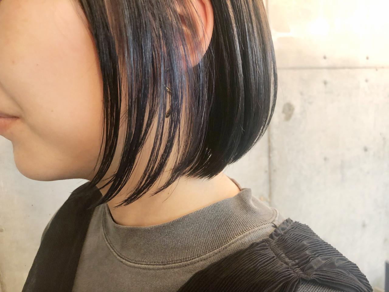 ナチュラル ボブ イルミナカラー 3Dカラー ヘアスタイルや髪型の写真・画像
