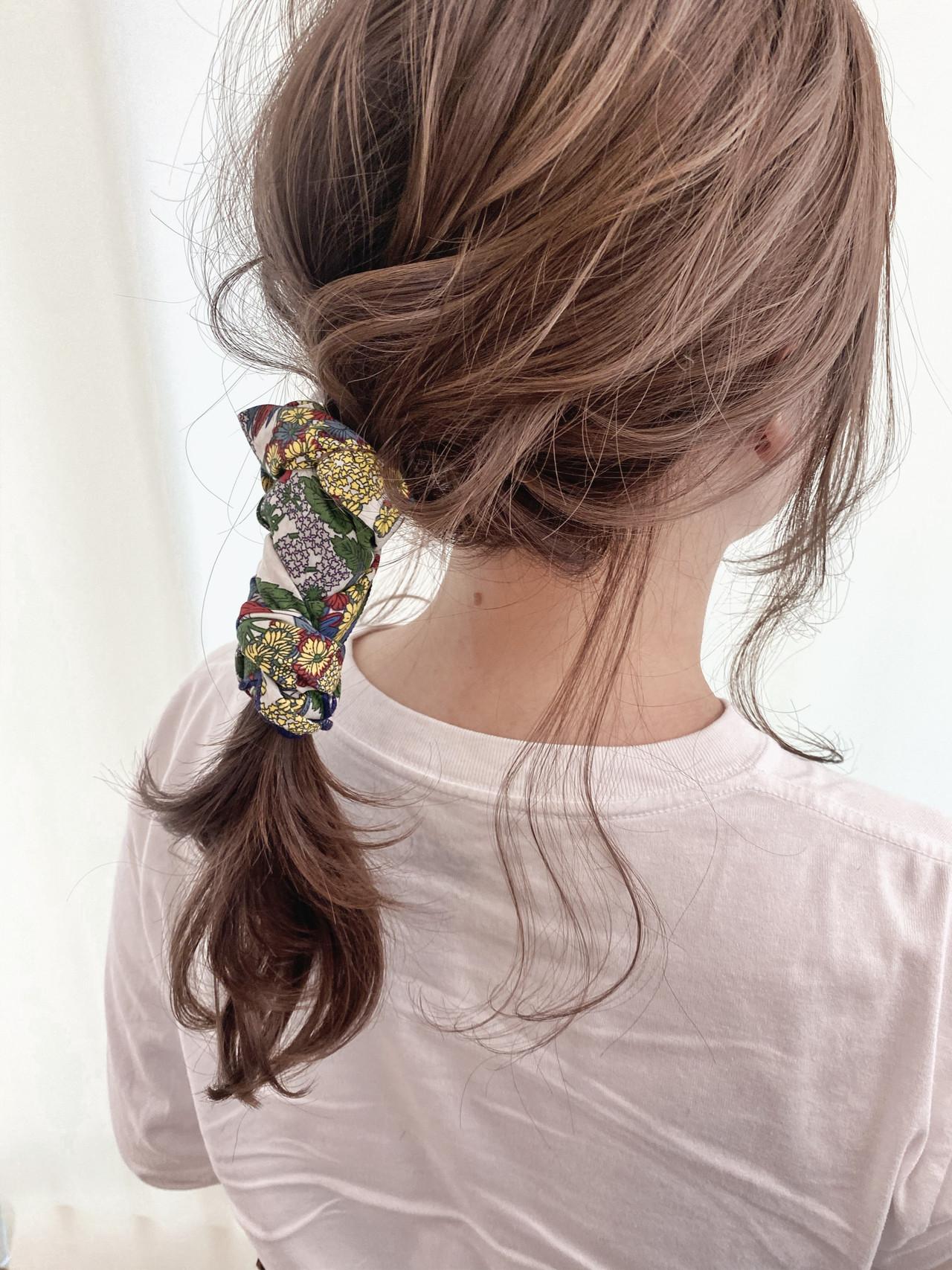 艶髪 前髪アレンジ 簡単ヘアアレンジ ミディアム ヘアスタイルや髪型の写真・画像