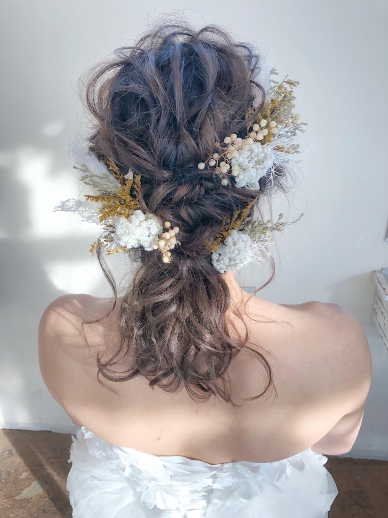 花嫁 ヘアアレンジ ナチュラル ミディアム Seamu サワ 375191 Hair