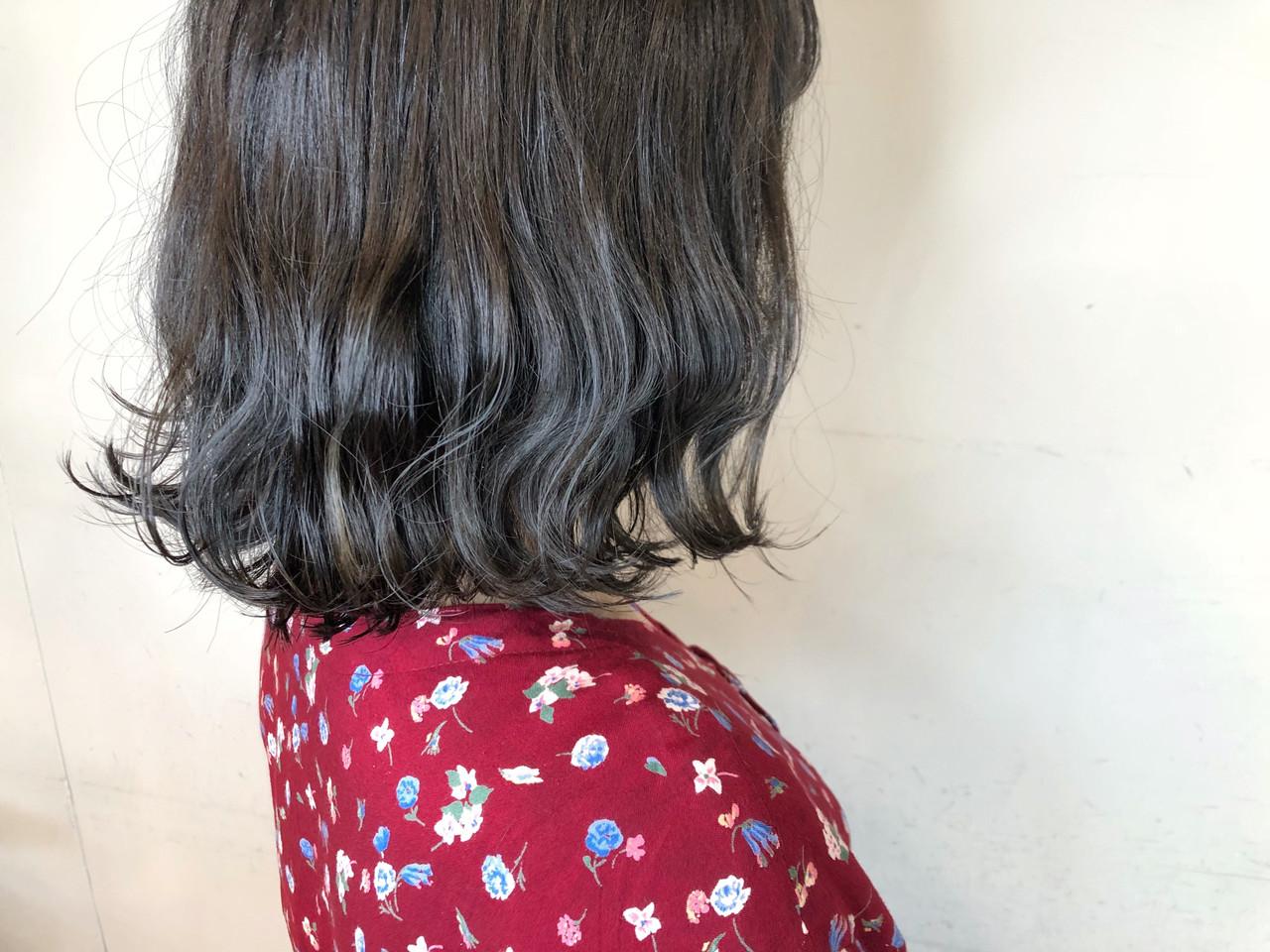 上品 ボブ ミディアム ゆるふわ ヘアスタイルや髪型の写真・画像