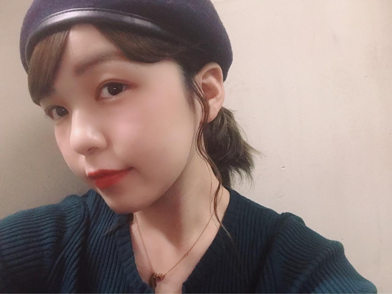 ミディアム ベレー帽 ガーリー 女子力 ヘアスタイルや髪型の写真・画像