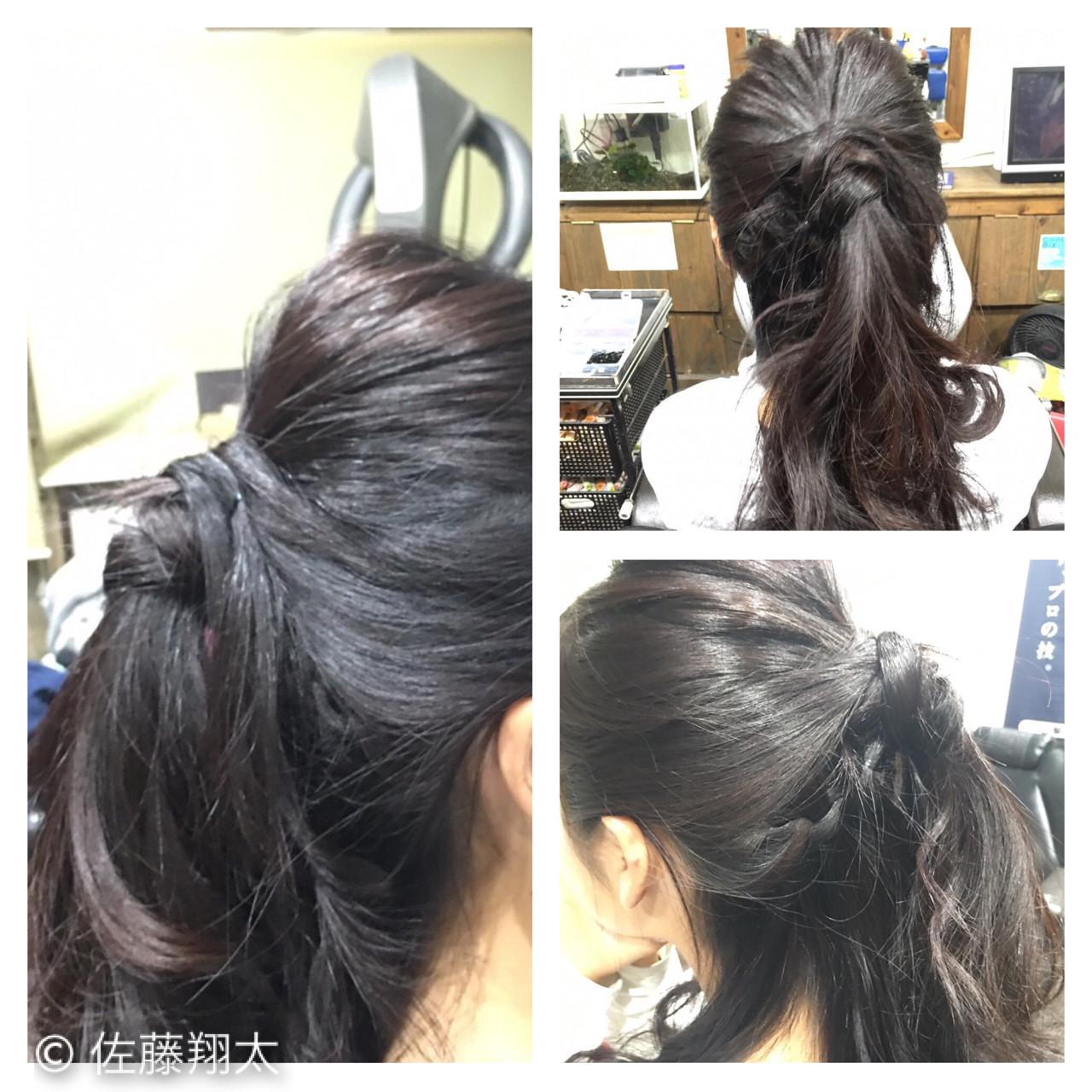 ヘアアレンジ ハーフアップ ウォーターフォール セミロング ヘアスタイルや髪型の写真・画像