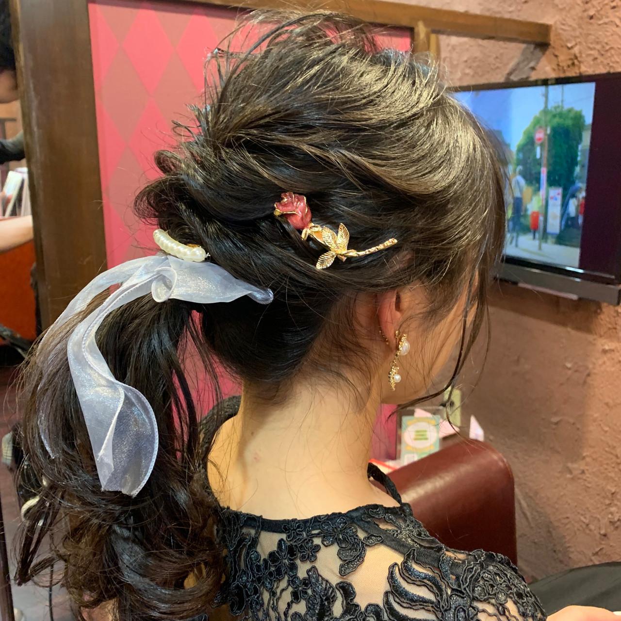 簡単ヘアアレンジ オフィス 結婚式 セミロング ヘアスタイルや髪型の写真・画像 | 生田浩明 / hair make cronos