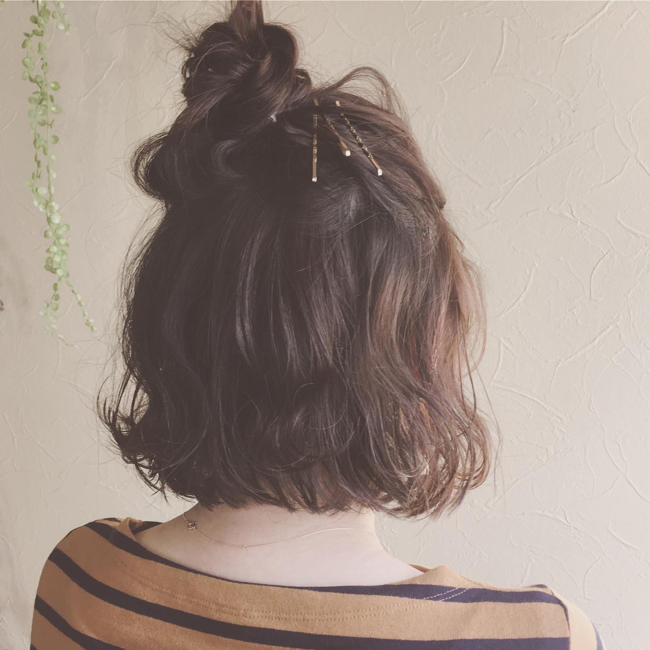 ナチュラル ボブ ヘアアレンジ 波ウェーブ ヘアスタイルや髪型の写真・画像