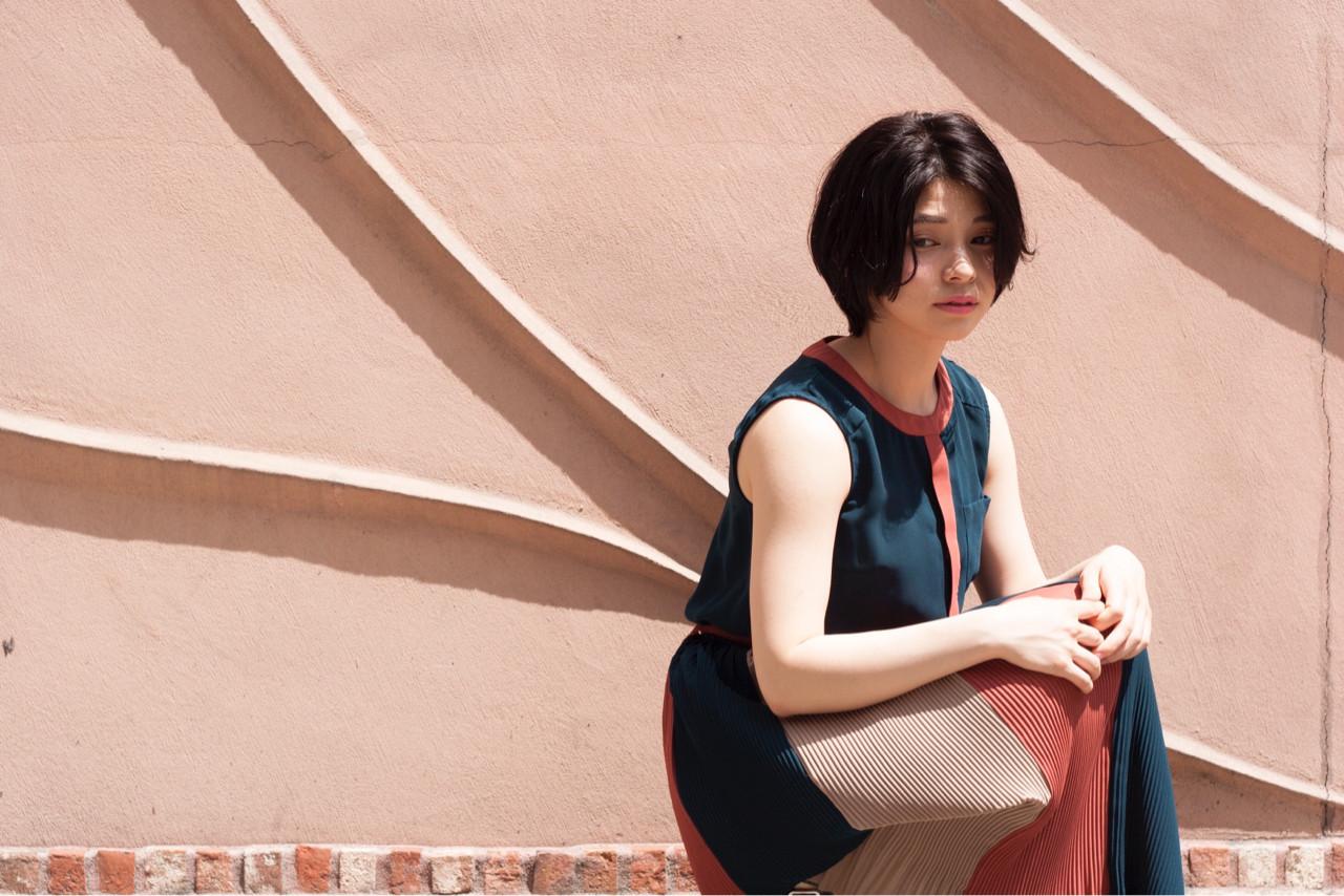 ショート パーマ ニュアンス 小顔 ヘアスタイルや髪型の写真・画像
