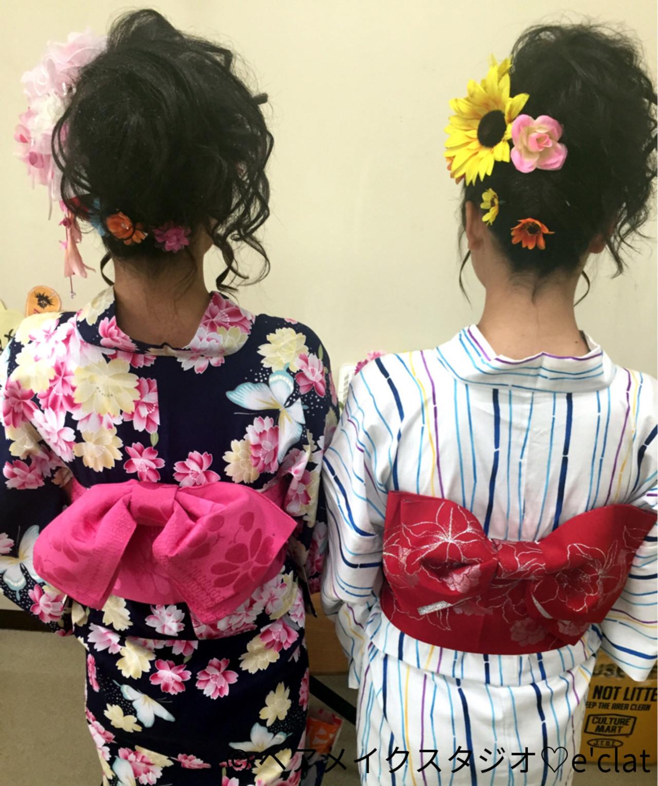 夏 セミロング 花火大会 お祭り ヘアスタイルや髪型の写真・画像