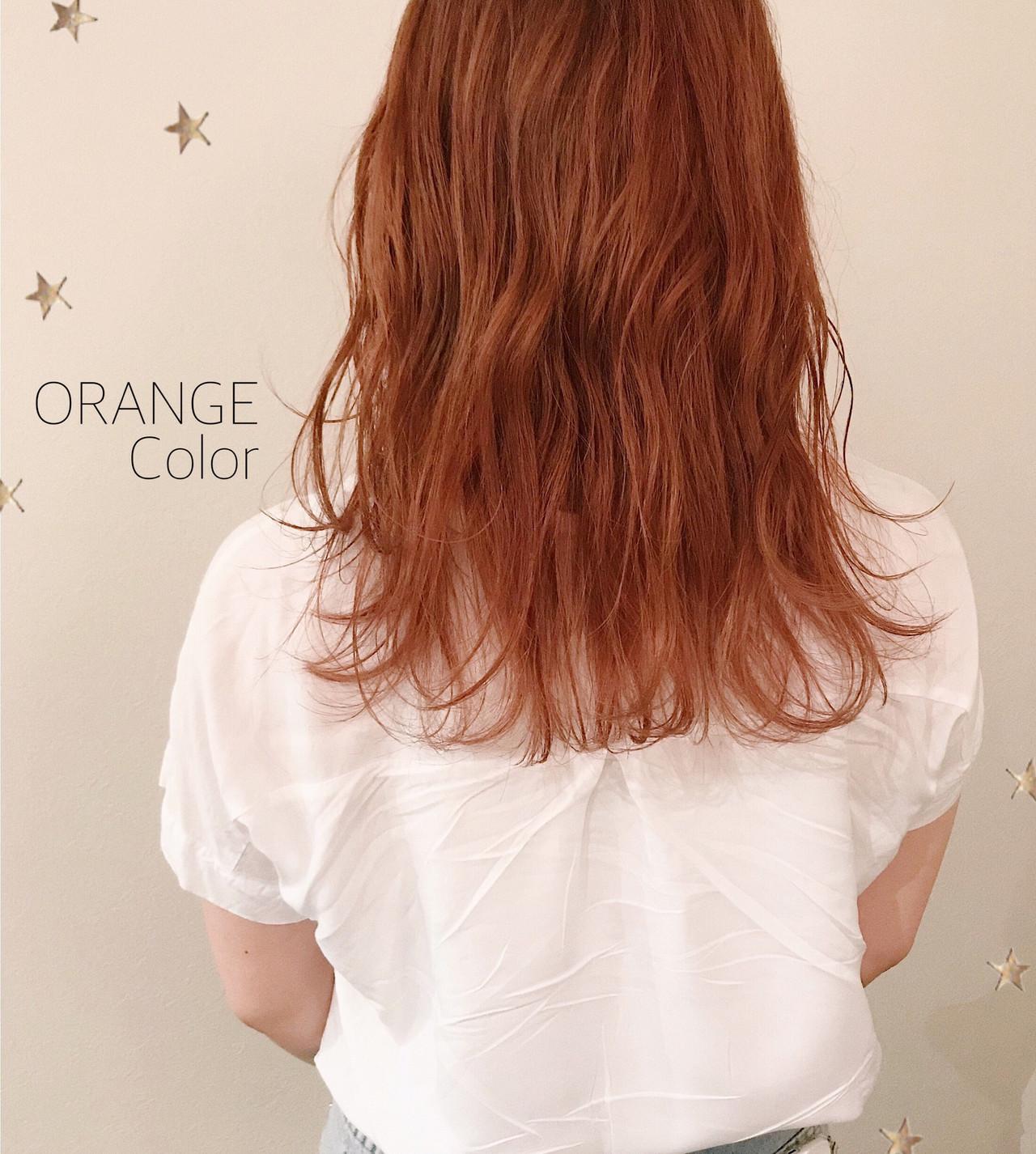 オレンジカラー オレンジ ストリート ゆるふわ ヘアスタイルや髪型の写真・画像