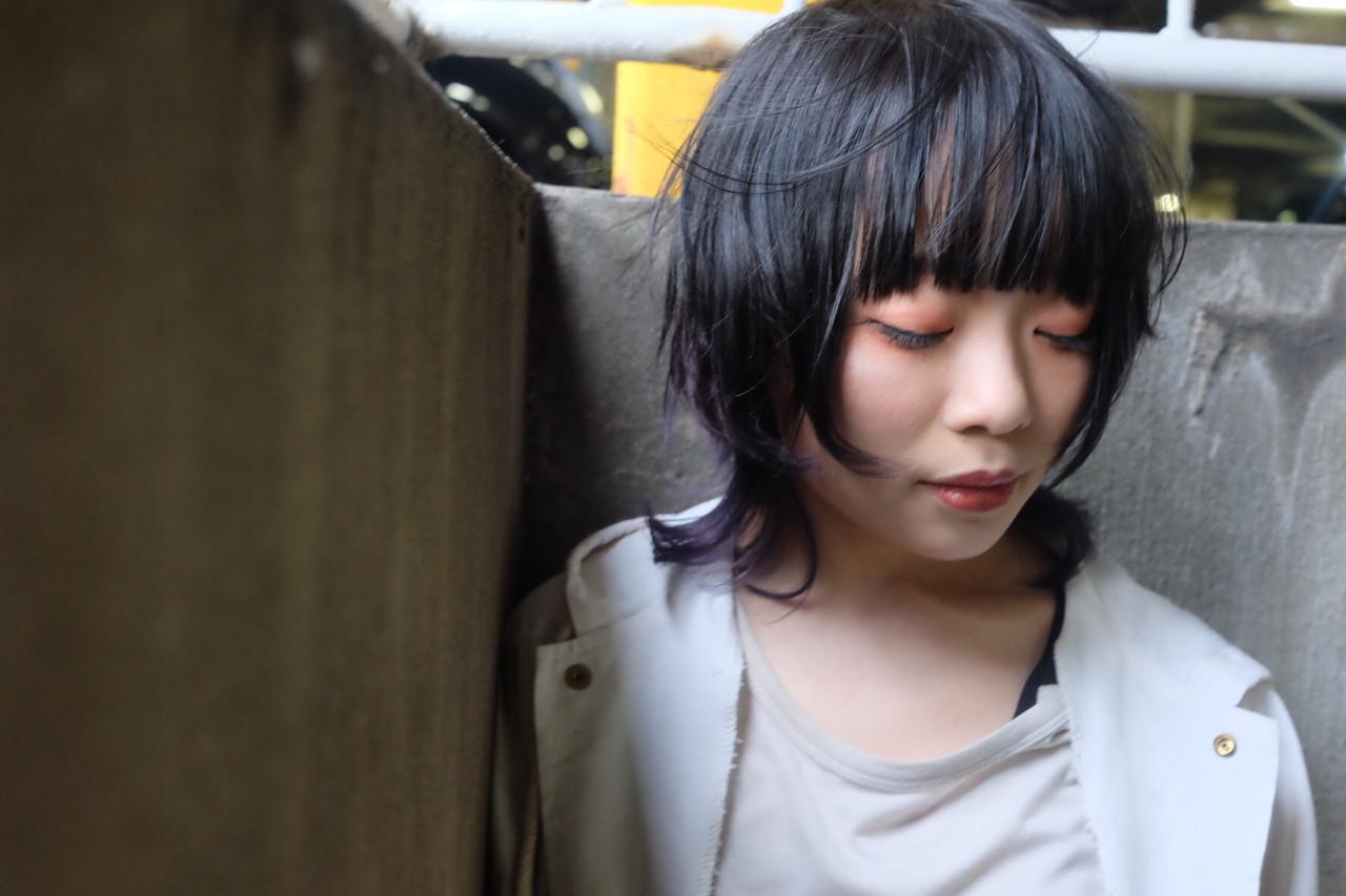 ラベンダーアッシュ ボブ インナーカラーパープル ラベンダーカラー ヘアスタイルや髪型の写真・画像 | マキシヤスアキ / KURAKU