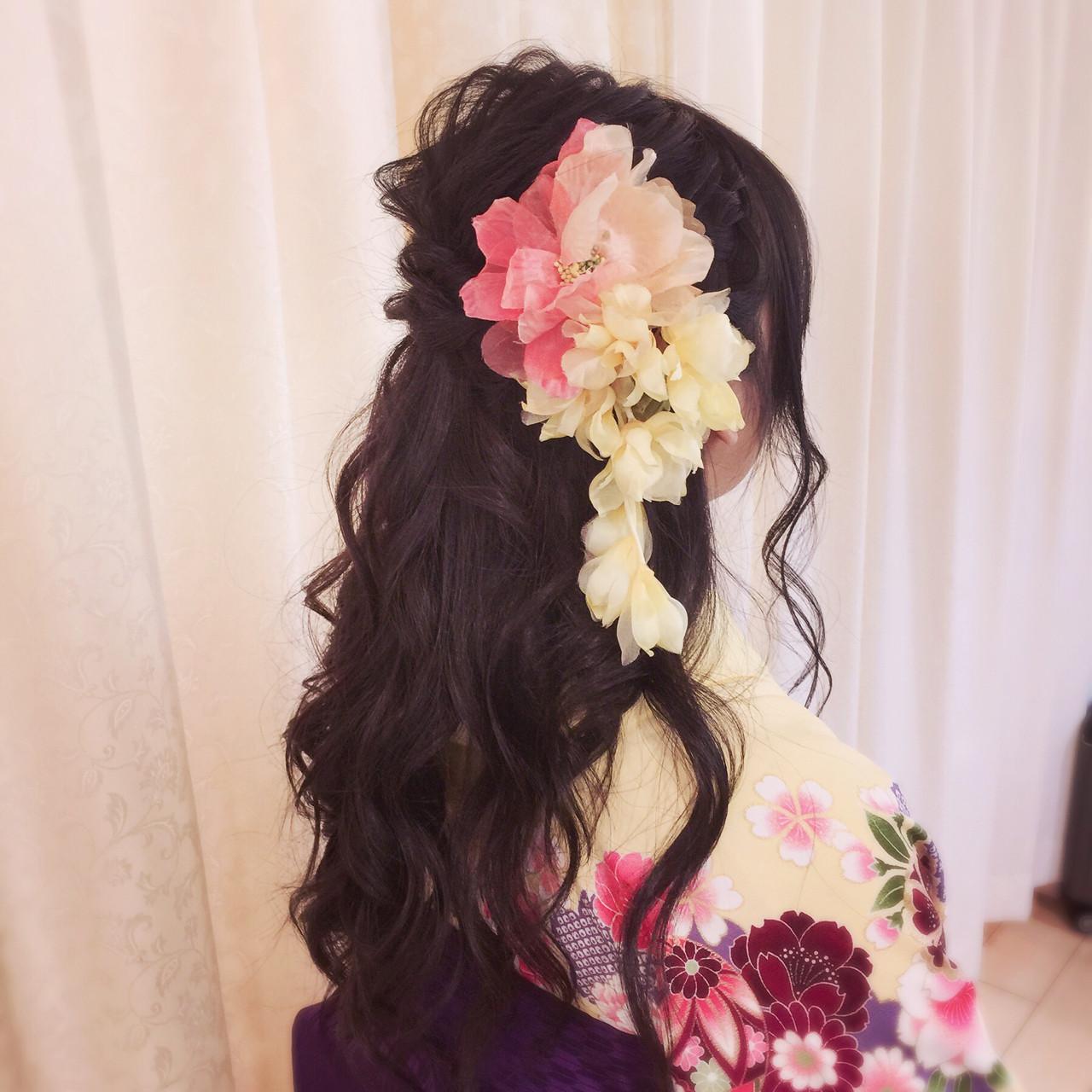 ロング 袴 ヘアアレンジ ガーリー ヘアスタイルや髪型の写真・画像