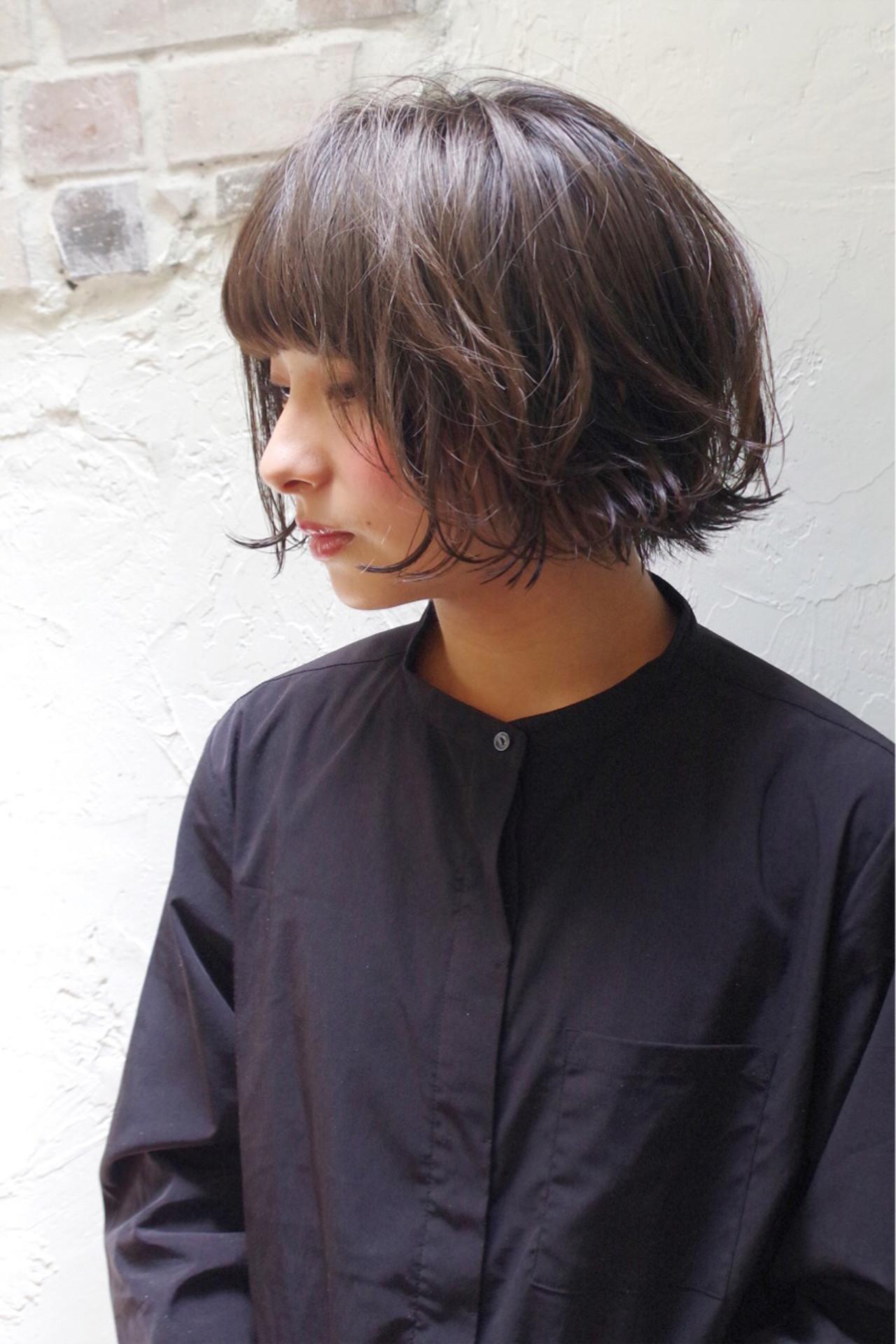 ナチュラル ボブ 前髪あり 大人かわいい ヘアスタイルや髪型の写真・画像