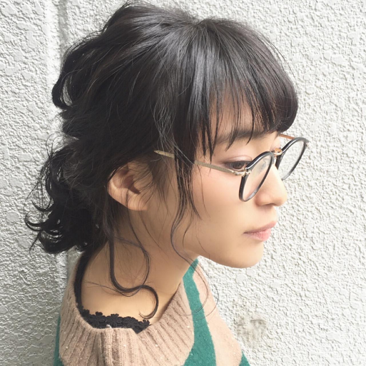 ミディアム 簡単ヘアアレンジ ヘアアレンジ 黒髪 ヘアスタイルや髪型の写真・画像   落合 健二 / hair ales