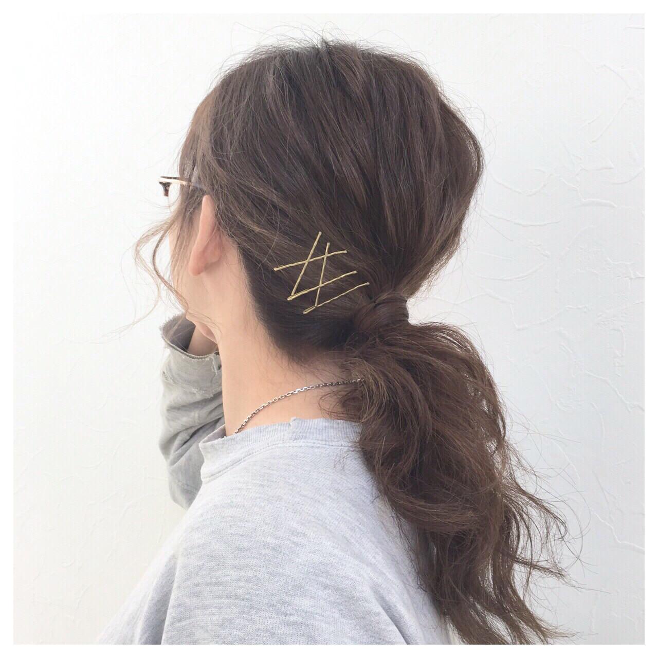セミロング ゆるふわ ショート 簡単ヘアアレンジ ヘアスタイルや髪型の写真・画像