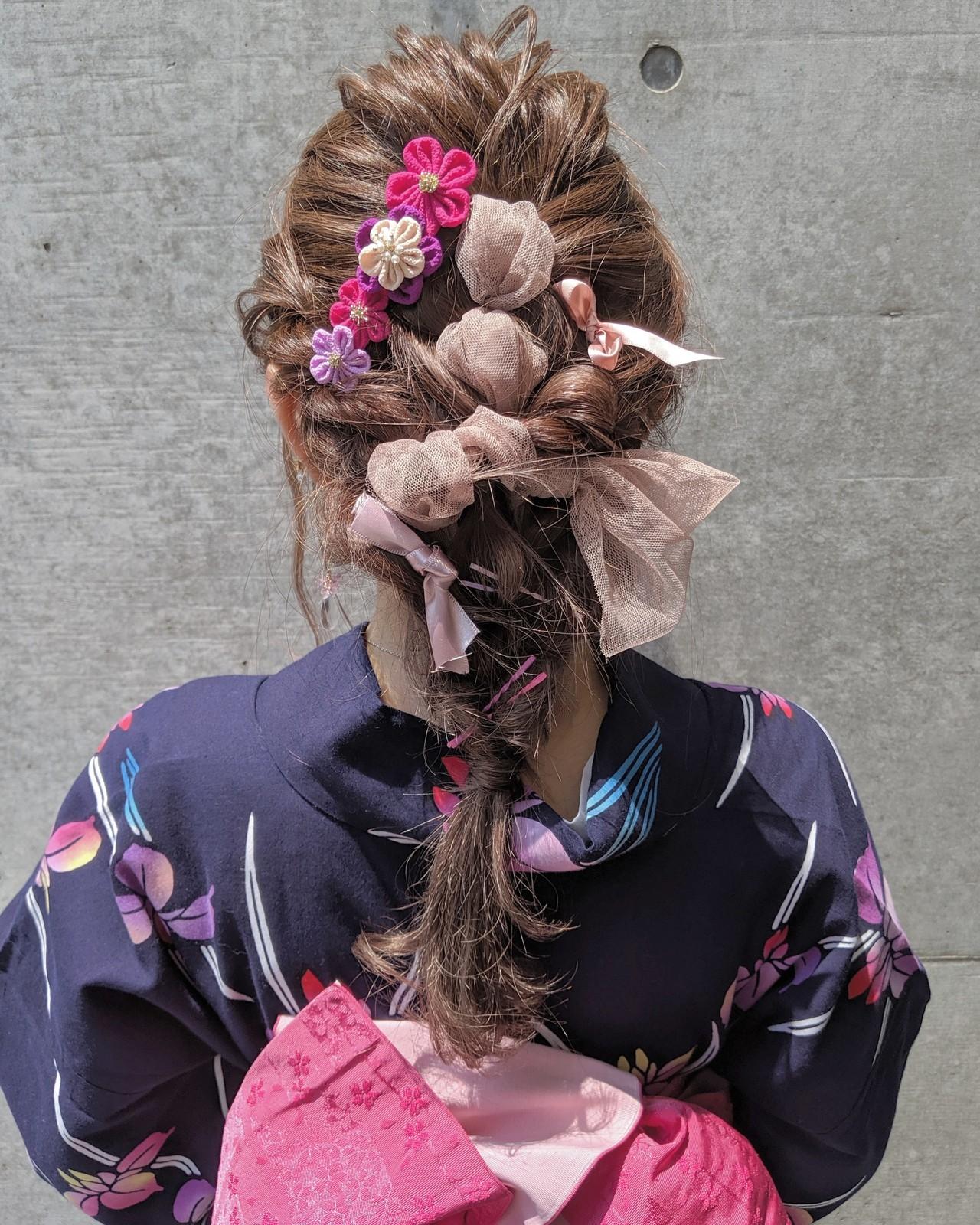 ガーリー リボンアレンジ 編みおろし 浴衣アレンジ ヘアスタイルや髪型の写真・画像